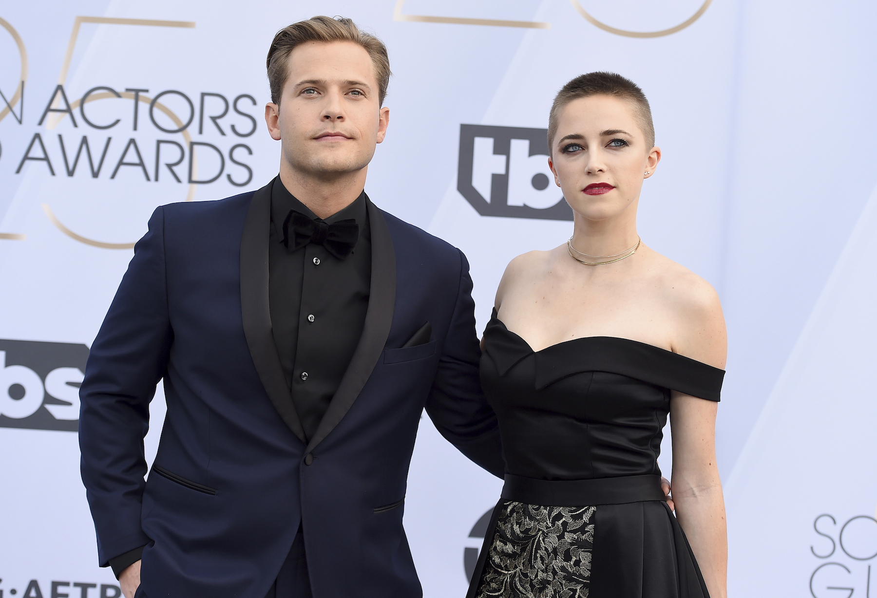 <div class='meta'><div class='origin-logo' data-origin='AP'></div><span class='caption-text' data-credit='Jordan Strauss/Invision/AP'>Wyatt Nash, left, and Aubrey Swander arrive at the 25th annual Screen Actors Guild Awards at the Shrine Auditorium & Expo Hall on Sunday, Jan. 27, 2019, in Los Angeles.</span></div>