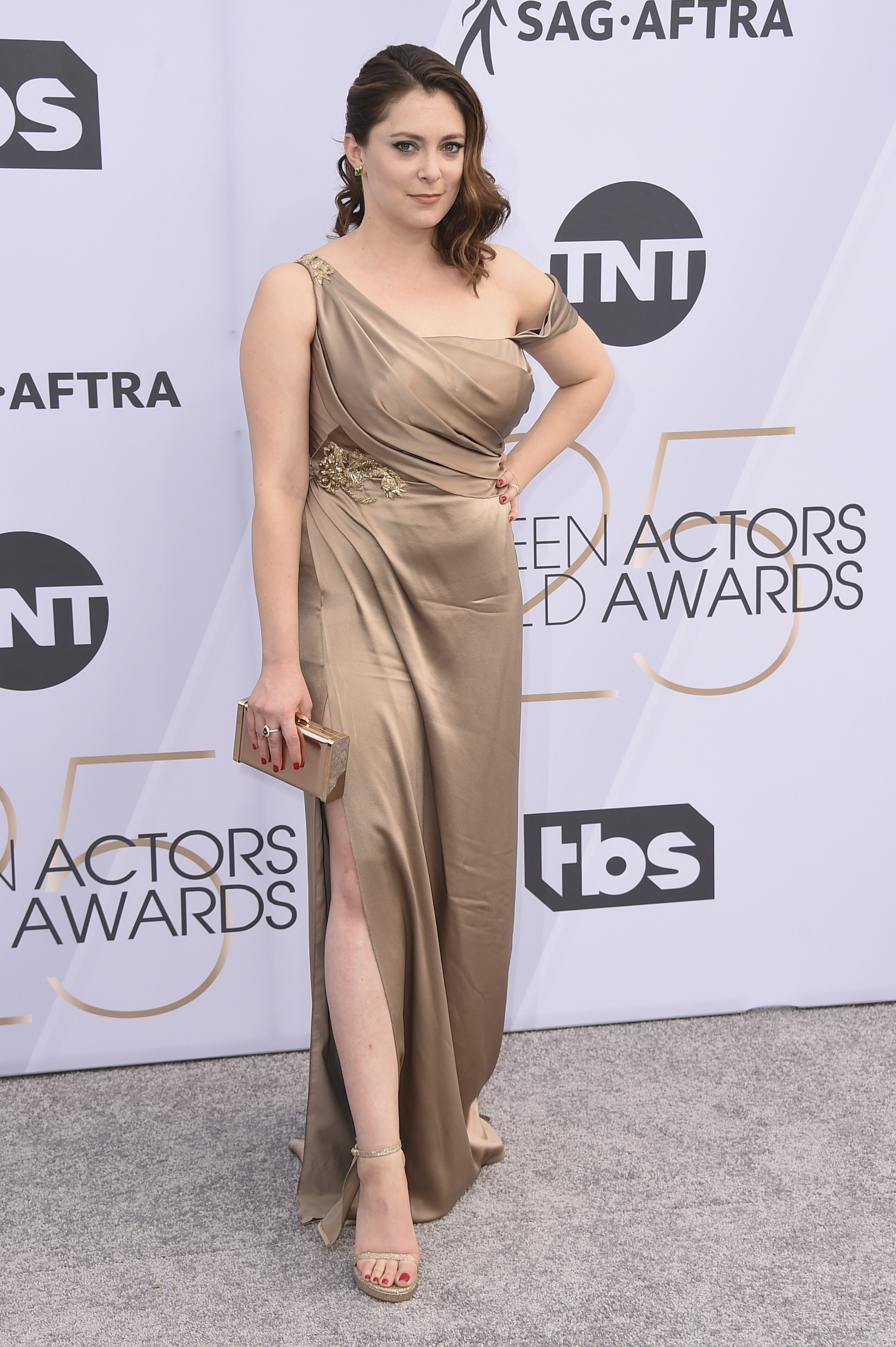 <div class='meta'><div class='origin-logo' data-origin='AP'></div><span class='caption-text' data-credit='Jordan Strauss/Invision/AP'>Rachel Bloom arrives at the 25th annual Screen Actors Guild Awards at the Shrine Auditorium & Expo Hall on Sunday, Jan. 27, 2019, in Los Angeles.</span></div>