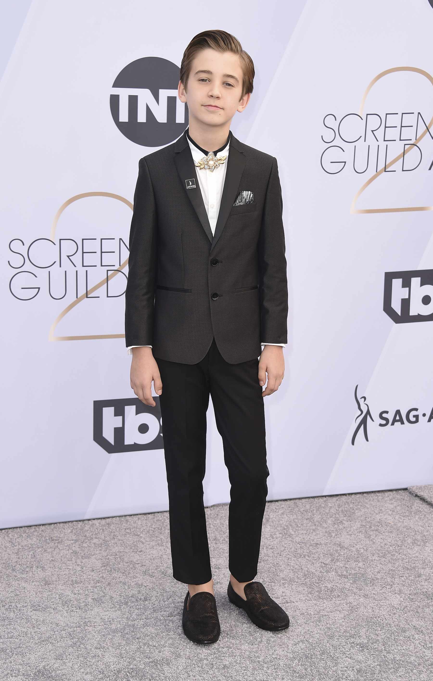 "<div class=""meta image-caption""><div class=""origin-logo origin-image ap""><span>AP</span></div><span class=""caption-text"">Parker Bates arrives at the 25th annual Screen Actors Guild Awards at the Shrine Auditorium & Expo Hall on Sunday, Jan. 27, 2019, in Los Angeles. (Jordan Strauss/Invision/AP)</span></div>"