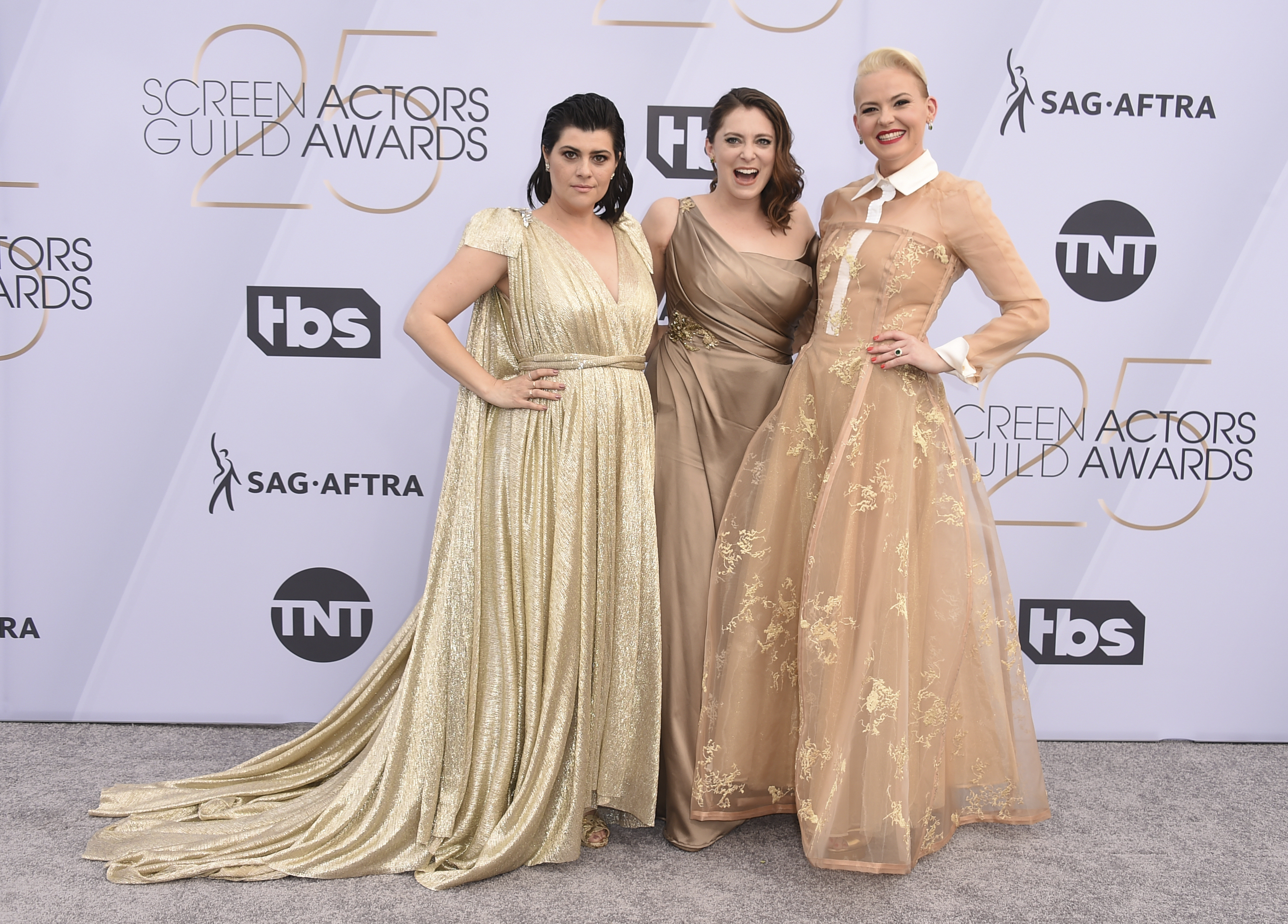 <div class='meta'><div class='origin-logo' data-origin='AP'></div><span class='caption-text' data-credit='Jordan Strauss/Invision/AP'>Rebekka Johnson, from left, Rachel Bloom, and Kimmy Gatewood arrive at the 25th annual Screen Actors Guild Awards at the Shrine Auditorium & Expo Hall on Sunday, Jan. 27, 2019.</span></div>