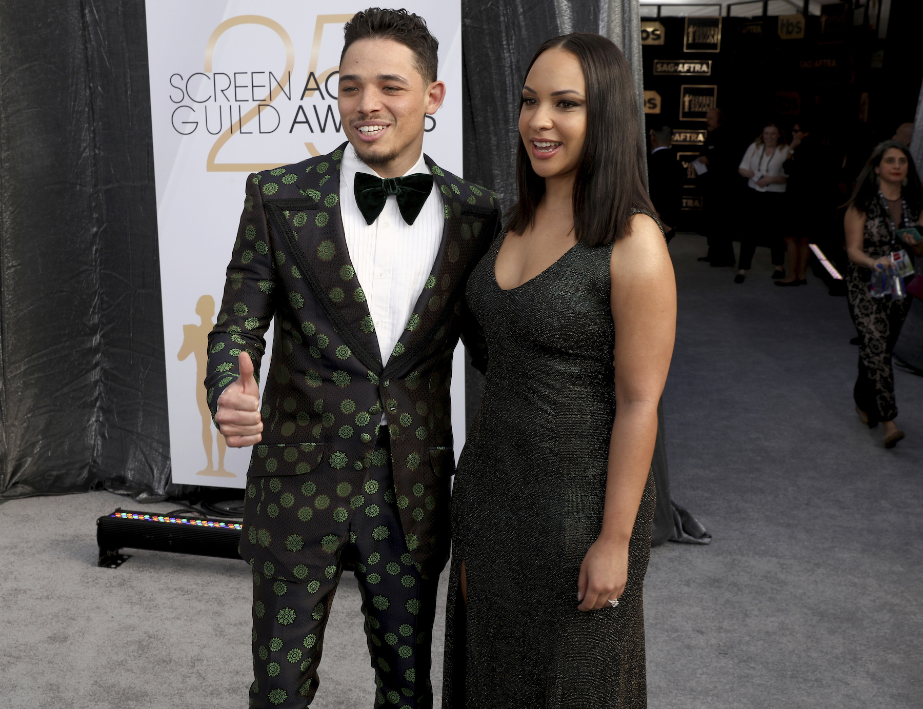 "<div class=""meta image-caption""><div class=""origin-logo origin-image ap""><span>AP</span></div><span class=""caption-text"">Anthony Ramos, left, and Jasmine Cephas Jones arrive at the 25th annual Screen Actors Guild Awards at the Shrine Auditorium & Expo Hall on Sunday, Jan. 27, 2019, in Los Angeles. (Matt Sayles/Invision/AP)</span></div>"