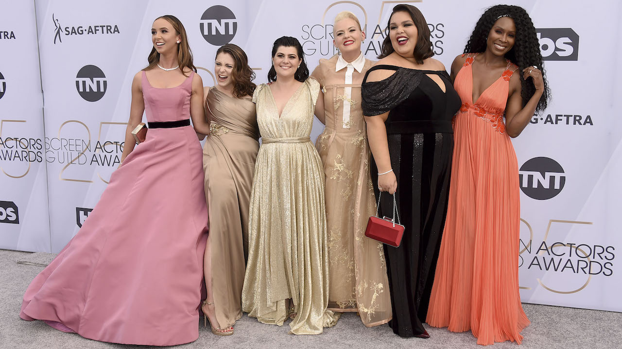 "<div class=""meta image-caption""><div class=""origin-logo origin-image ap""><span>AP</span></div><span class=""caption-text"">Britt Baron, from left, Rachel Bloom, Rebekka Johnson, Kimmy Gatewood, Britney Young, and Sydelle Noel arrive at the 25th annual Screen Actors Guild Awards. (Jordan Strauss/Invision/AP)</span></div>"