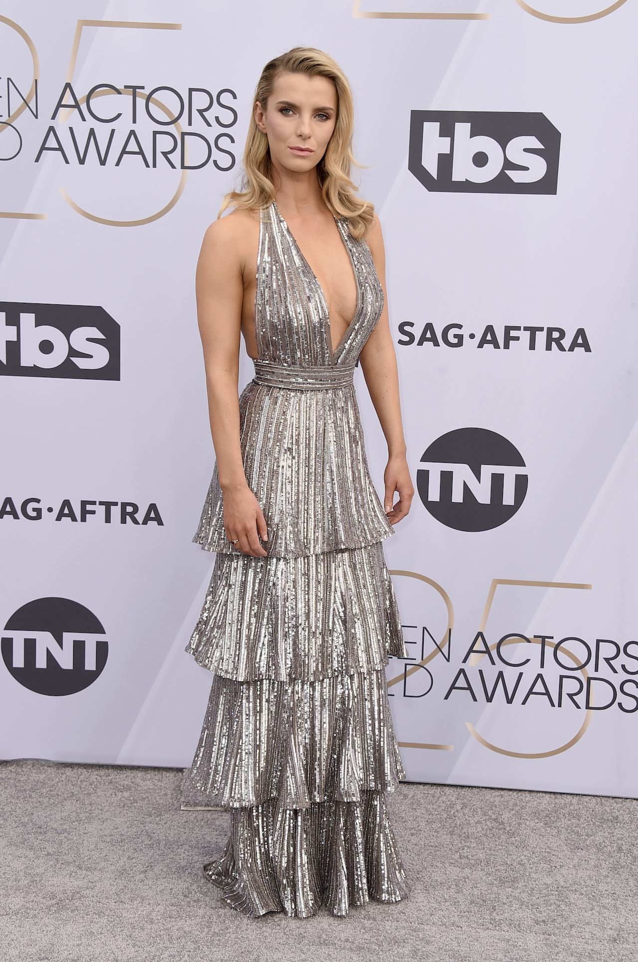 <div class='meta'><div class='origin-logo' data-origin='AP'></div><span class='caption-text' data-credit='Jordan Strauss/Invision/AP'>Betty Gilpin arrives at the 25th annual Screen Actors Guild Awards at the Shrine Auditorium & Expo Hall on Sunday, Jan. 27, 2019, in Los Angeles.</span></div>