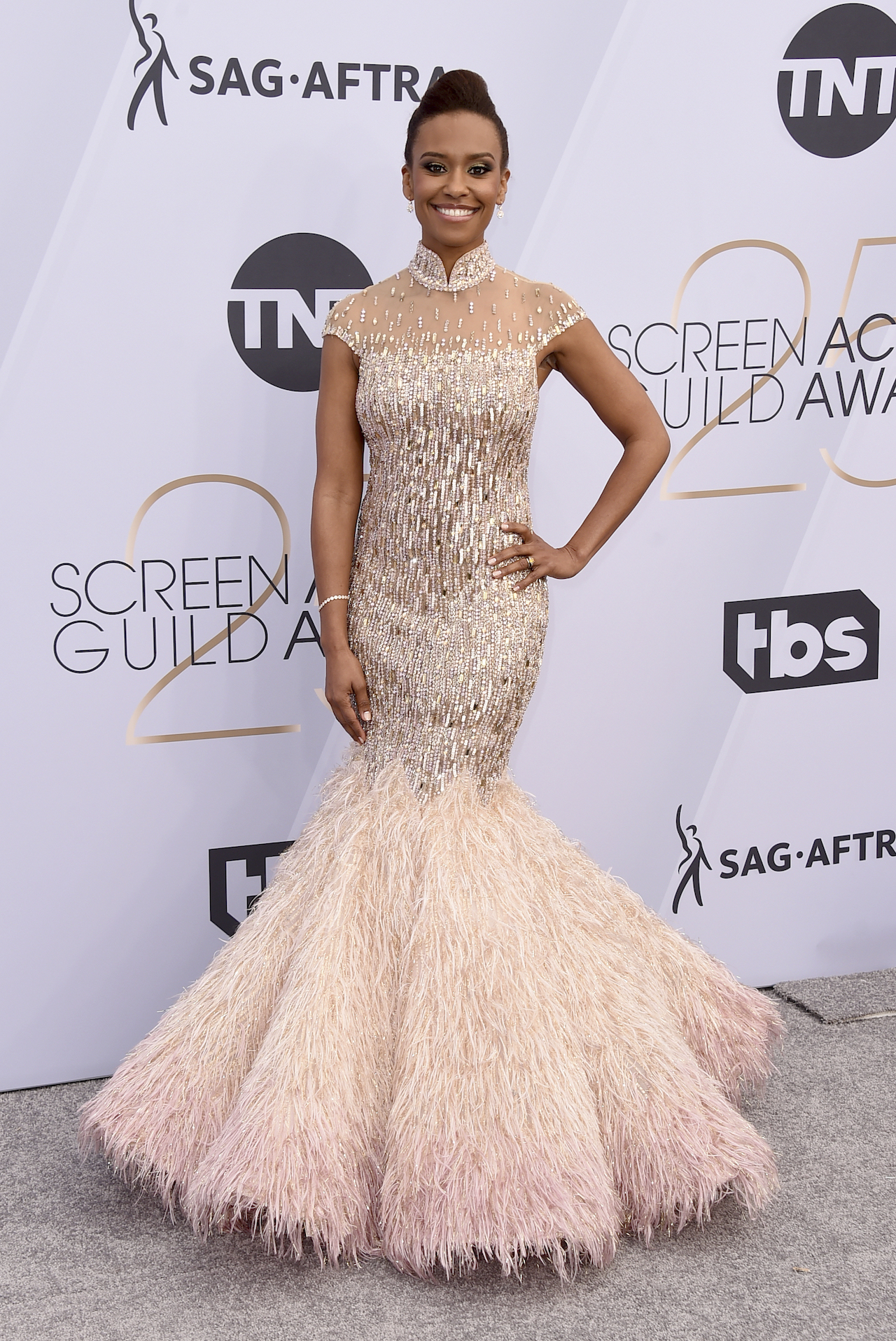 <div class='meta'><div class='origin-logo' data-origin='AP'></div><span class='caption-text' data-credit='Jordan Strauss/Invision/AP'>Ryan Michelle Bathe arrives at the 25th annual Screen Actors Guild Awards at the Shrine Auditorium & Expo Hall on Sunday, Jan. 27, 2019, in Los Angeles.</span></div>