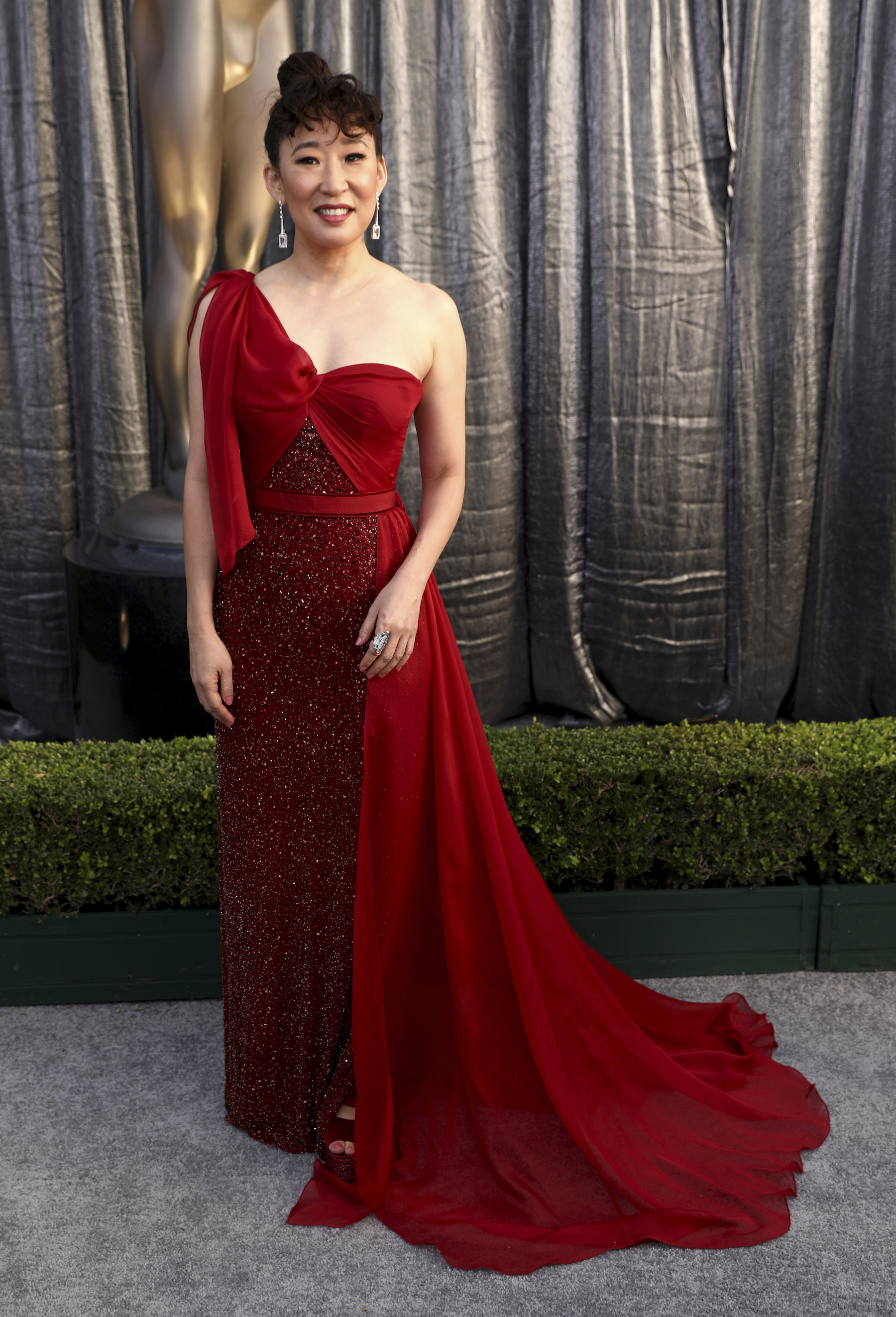 <div class='meta'><div class='origin-logo' data-origin='AP'></div><span class='caption-text' data-credit='Matt Sayles/Invision/AP'>Sandra Oh arrives at the 25th annual Screen Actors Guild Awards at the Shrine Auditorium & Expo Hall on Sunday, Jan. 27, 2019, in Los Angeles.</span></div>