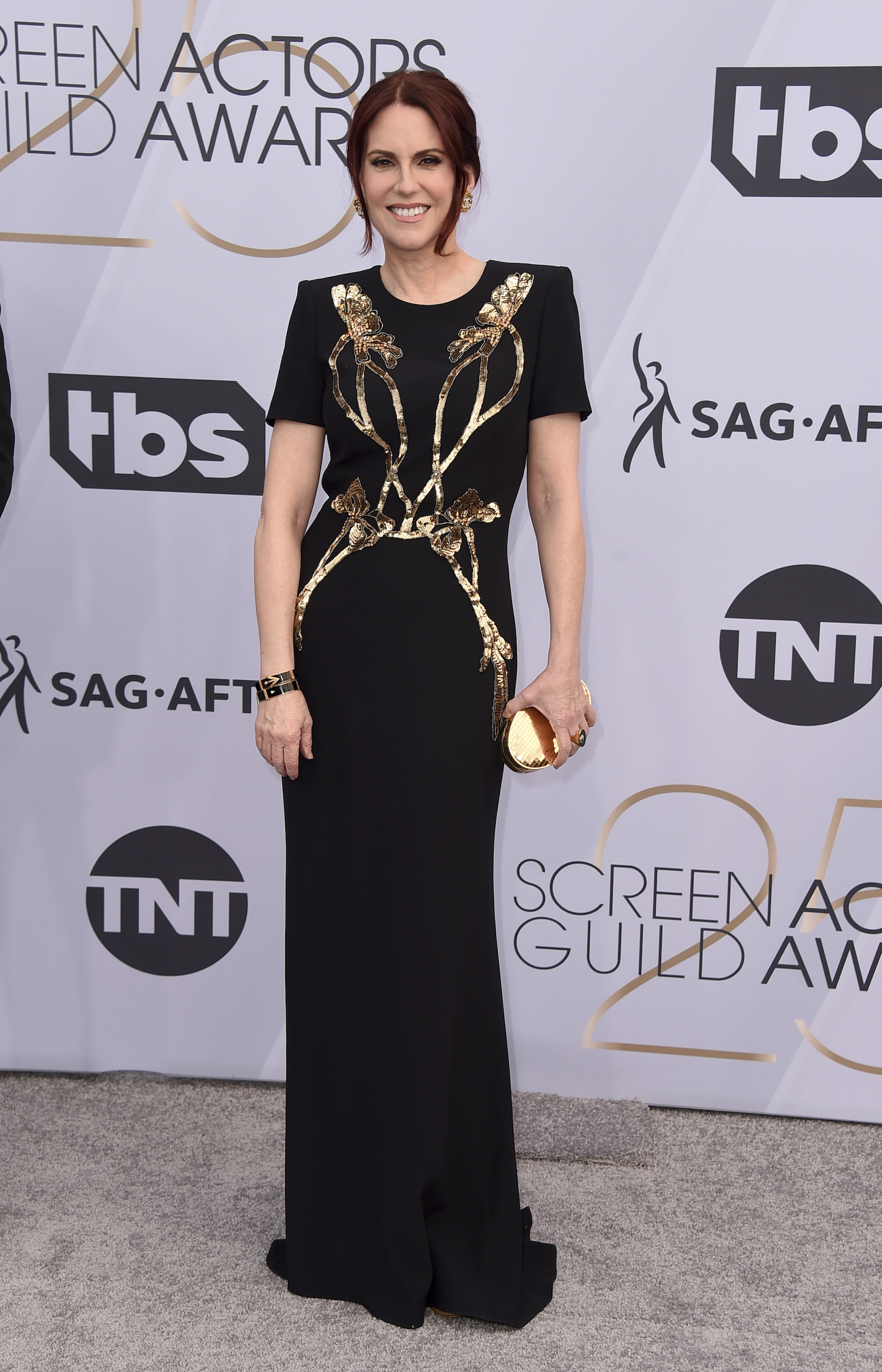 <div class='meta'><div class='origin-logo' data-origin='AP'></div><span class='caption-text' data-credit='Jordan Strauss/Invision/AP'>Megan Mullally arrives at the 25th annual Screen Actors Guild Awards at the Shrine Auditorium & Expo Hall on Sunday, Jan. 27, 2019, in Los Angeles.</span></div>