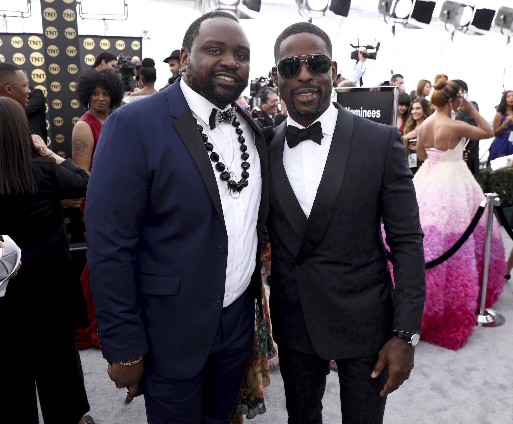 <div class='meta'><div class='origin-logo' data-origin='AP'></div><span class='caption-text' data-credit='Matt Sayles/Invision/AP'>Brian Tyree Henry, left, and Sterling K. Brown arrive at the 25th annual Screen Actors Guild Awards at the Shrine Auditorium & Expo Hall on Sunday, Jan. 27, 2019, in Los Angeles.</span></div>