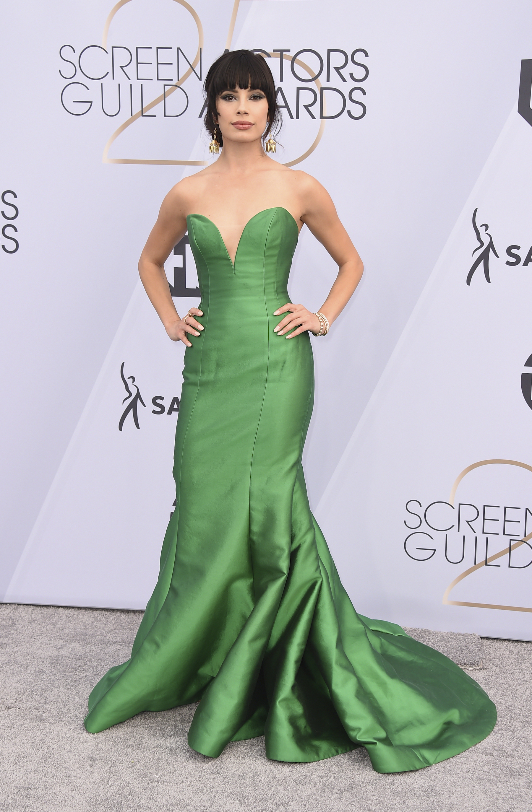<div class='meta'><div class='origin-logo' data-origin='AP'></div><span class='caption-text' data-credit='Jordan Strauss/Invision/AP'>Jenna Lyng arrives at the 25th annual Screen Actors Guild Awards at the Shrine Auditorium & Expo Hall on Sunday, Jan. 27, 2019, in Los Angeles.</span></div>