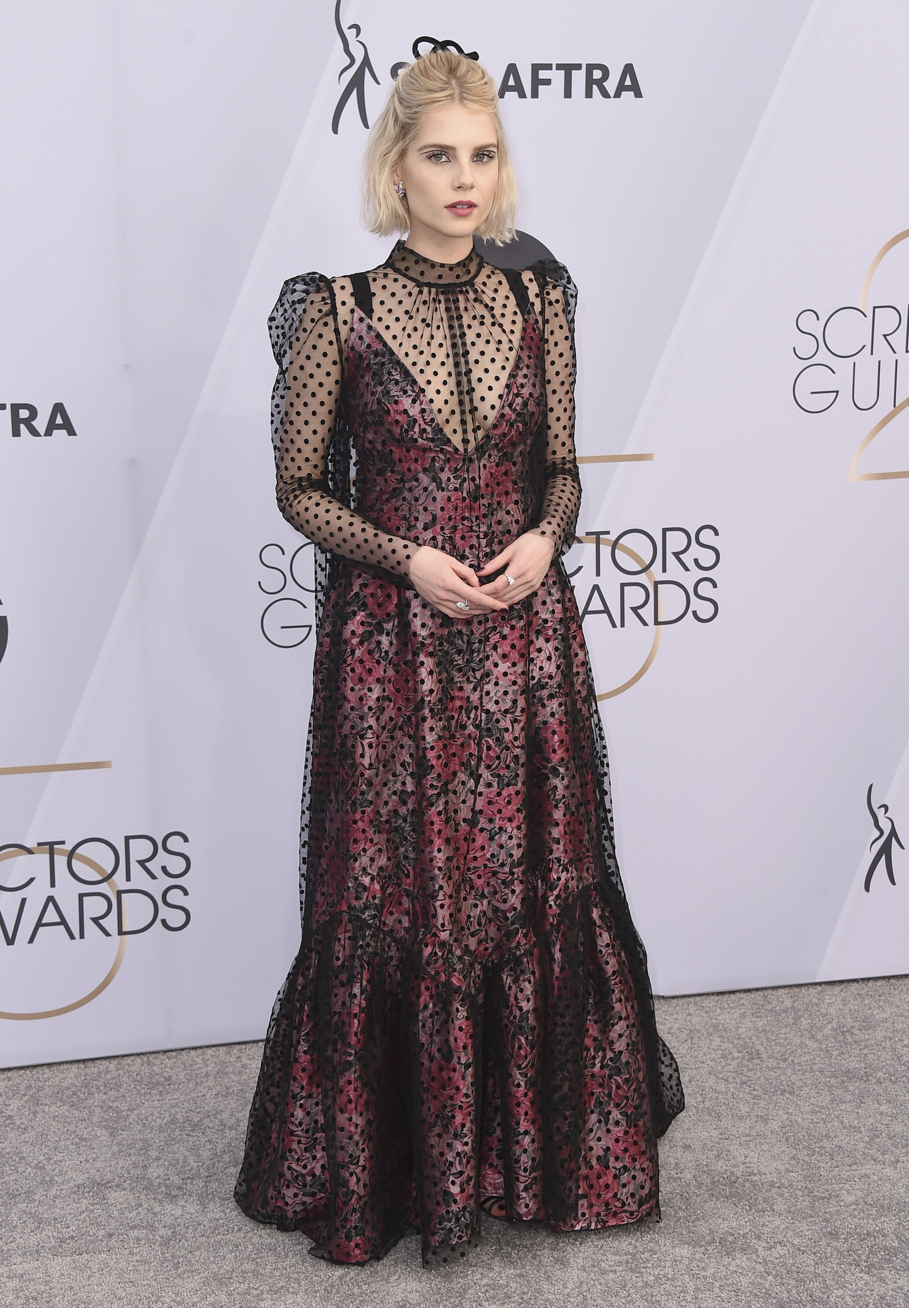 <div class='meta'><div class='origin-logo' data-origin='AP'></div><span class='caption-text' data-credit='Jordan Strauss/Invision/AP'>Lucy Boynton arrives at the 25th annual Screen Actors Guild Awards at the Shrine Auditorium & Expo Hall on Sunday, Jan. 27, 2019, in Los Angeles.</span></div>