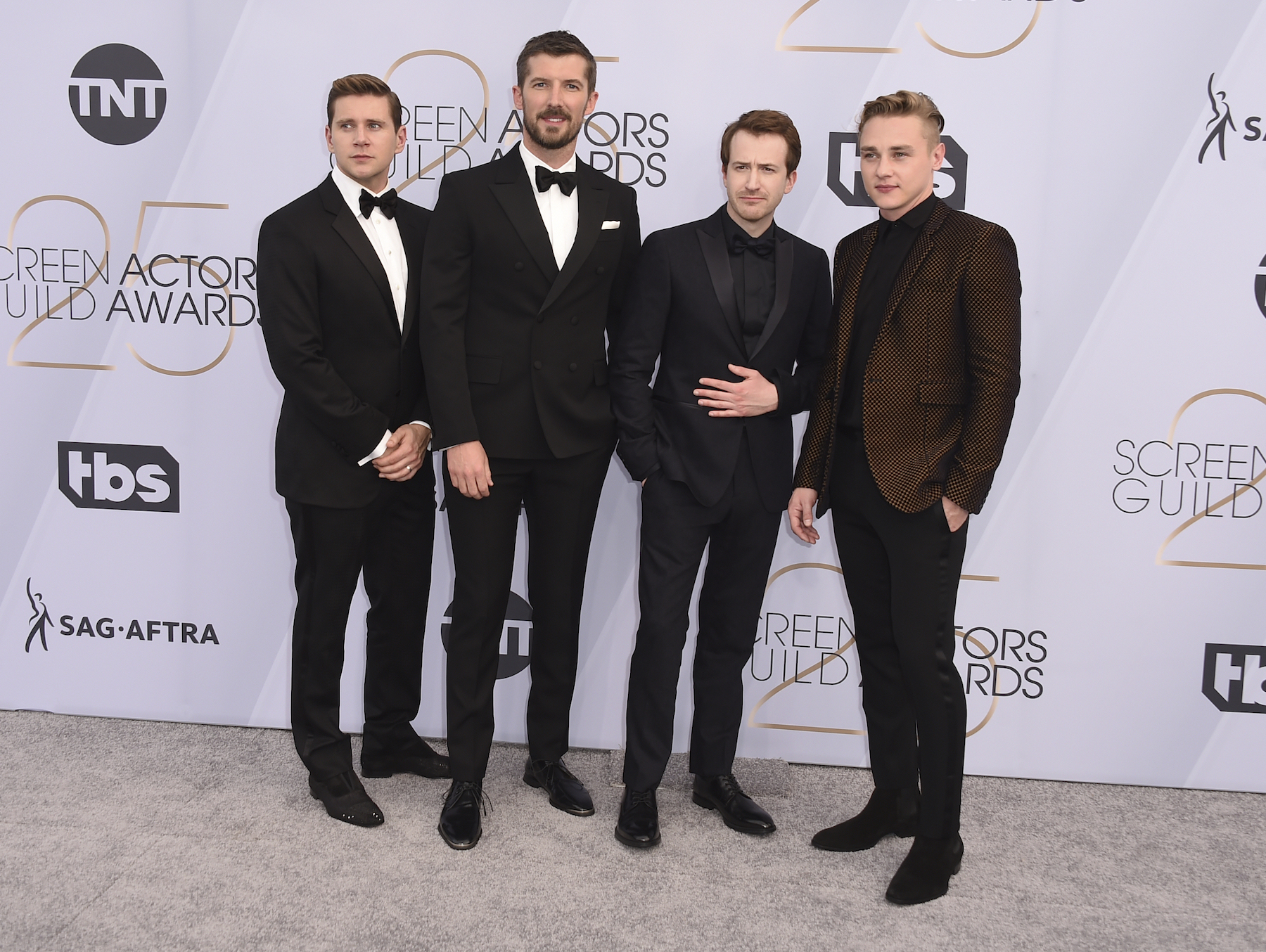 "<div class=""meta image-caption""><div class=""origin-logo origin-image ap""><span>AP</span></div><span class=""caption-text"">Allen Leech, from left, Gwilym Lee, Joseph Mazzello, and Ben Hardy arrive at the 25th annual Screen Actors Guild Awards at the Shrine Auditorium & Expo Hall. (Jordan Strauss/Invision/AP)</span></div>"
