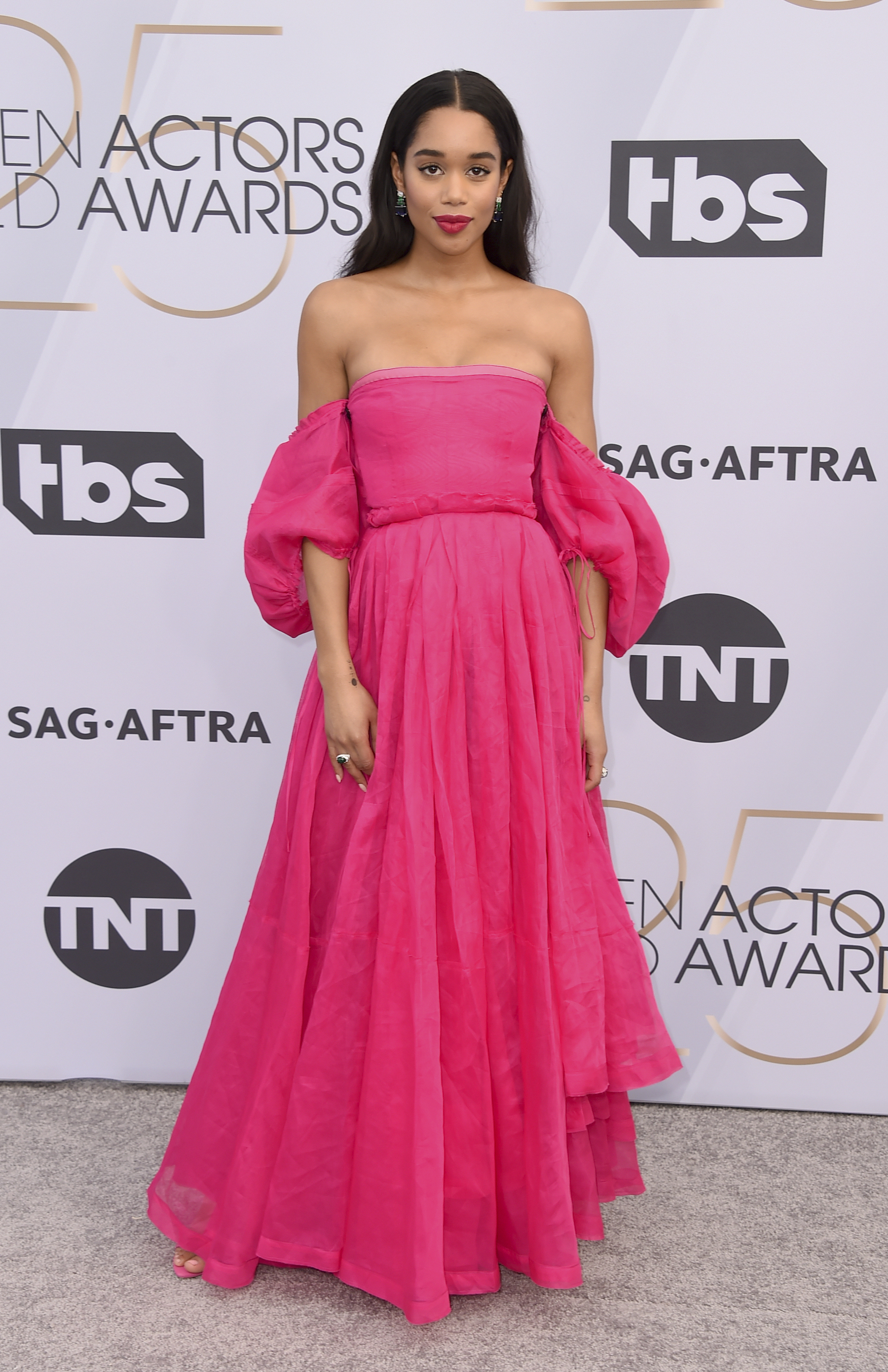 <div class='meta'><div class='origin-logo' data-origin='AP'></div><span class='caption-text' data-credit='Jordan Strauss/Invision/AP'>Laura Harrier arrives at the 25th annual Screen Actors Guild Awards at the Shrine Auditorium & Expo Hall on Sunday, Jan. 27, 2019, in Los Angeles.</span></div>