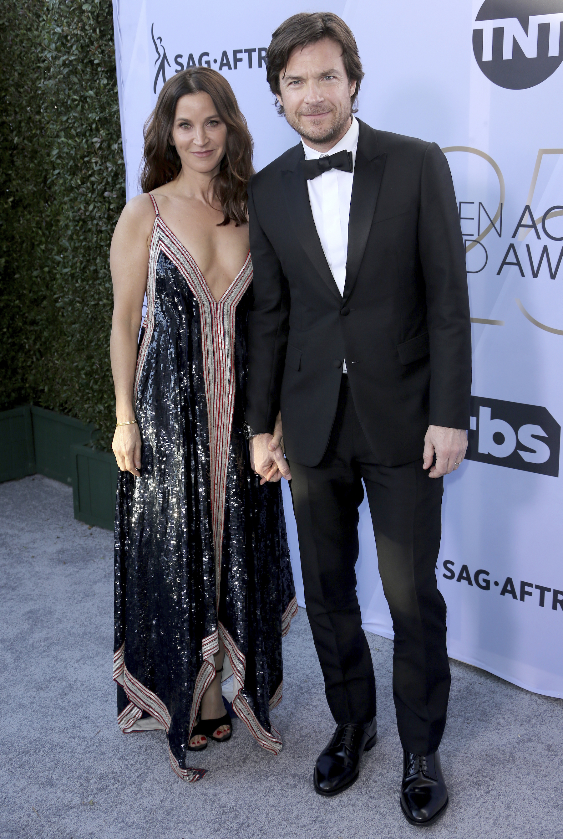 <div class='meta'><div class='origin-logo' data-origin='AP'></div><span class='caption-text' data-credit='Willy Sanjuan/Invision/AP'>Jason Bateman, right, and Amanda Anka arrive at the 25th annual Screen Actors Guild Awards at the Shrine Auditorium & Expo Hall on Sunday, Jan. 27, 2019, in Los Angeles.</span></div>