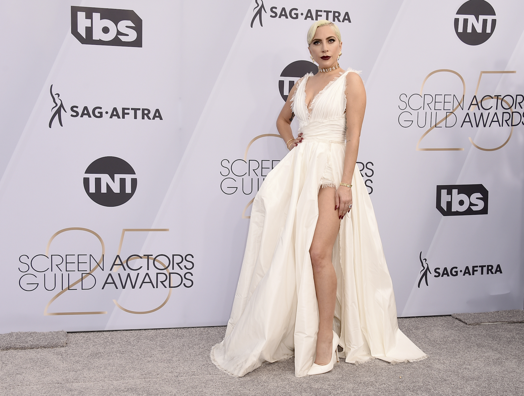 <div class='meta'><div class='origin-logo' data-origin='AP'></div><span class='caption-text' data-credit='Jordan Strauss/Invision/AP'>Lady Gaga arrives at the 25th annual Screen Actors Guild Awards at the Shrine Auditorium & Expo Hall on Sunday, Jan. 27, 2019, in Los Angeles.</span></div>