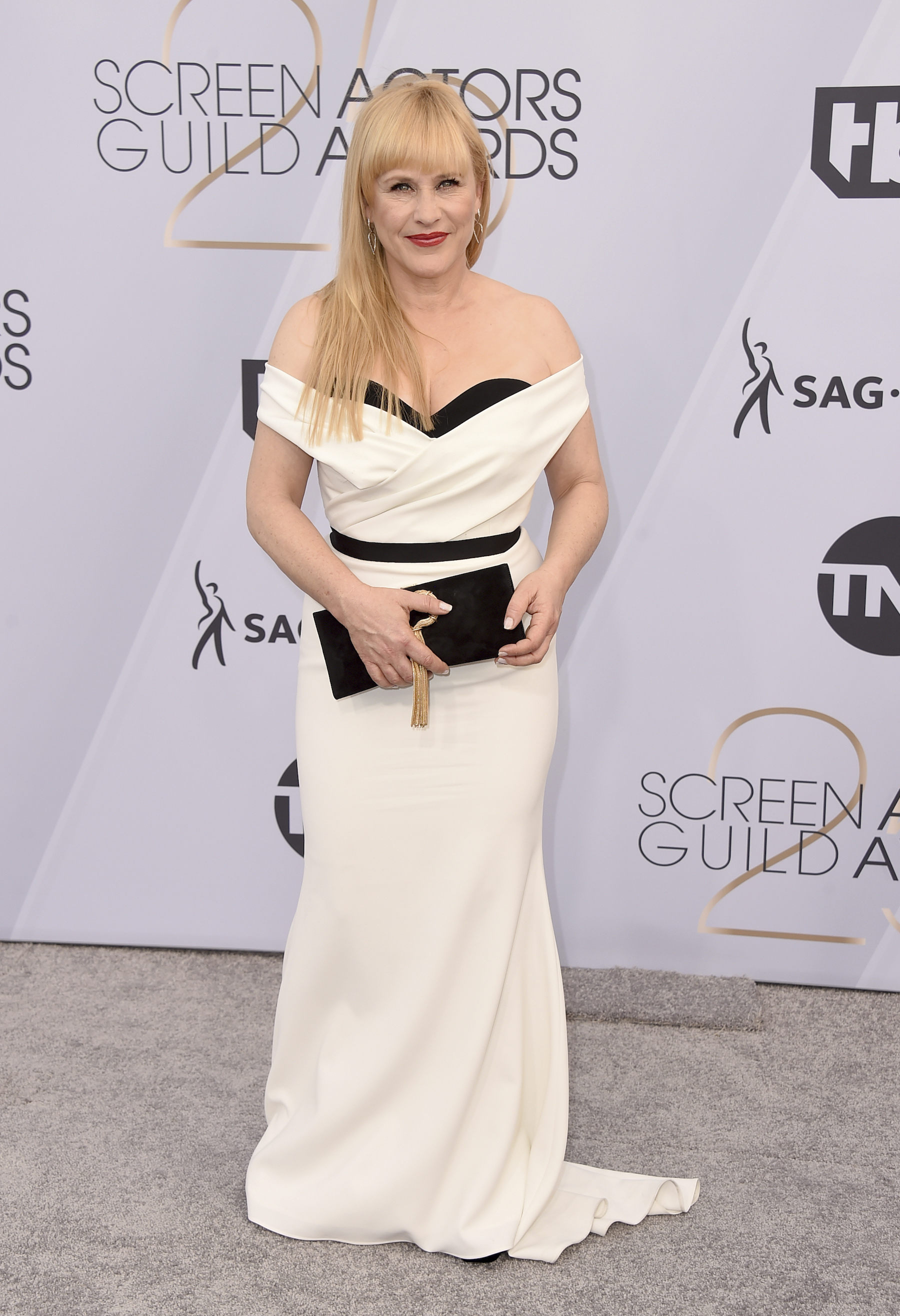 <div class='meta'><div class='origin-logo' data-origin='AP'></div><span class='caption-text' data-credit='Jordan Strauss/Invision/AP'>Patricia Arquette arrives at the 25th annual Screen Actors Guild Awards at the Shrine Auditorium & Expo Hall on Sunday, Jan. 27, 2019, in Los Angeles.</span></div>