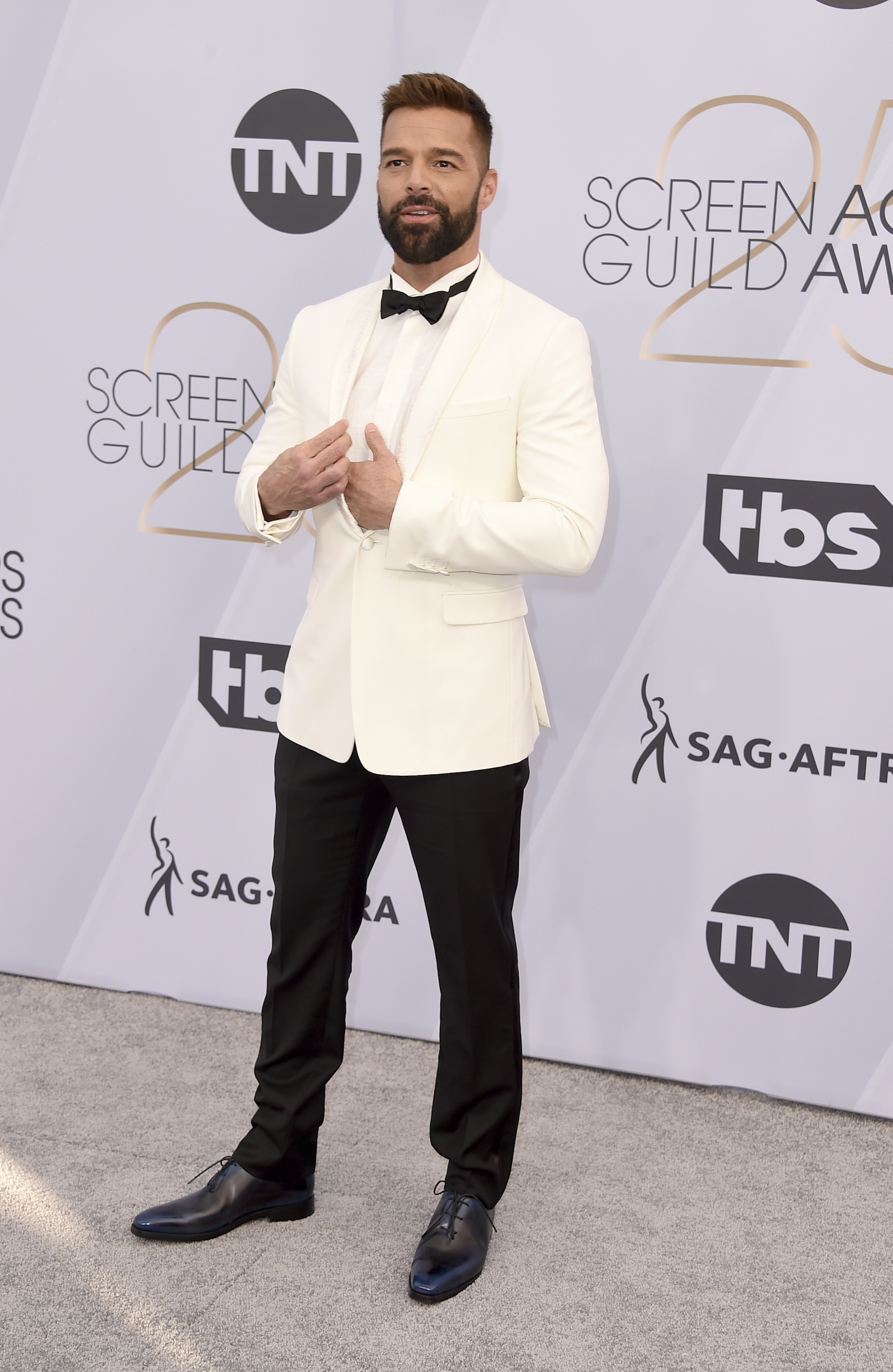 "<div class=""meta image-caption""><div class=""origin-logo origin-image ap""><span>AP</span></div><span class=""caption-text"">Ricky Martin arrives at the 25th annual Screen Actors Guild Awards at the Shrine Auditorium & Expo Hall on Sunday, Jan. 27, 2019, in Los Angeles. (Jordan Strauss/Invision/AP)</span></div>"