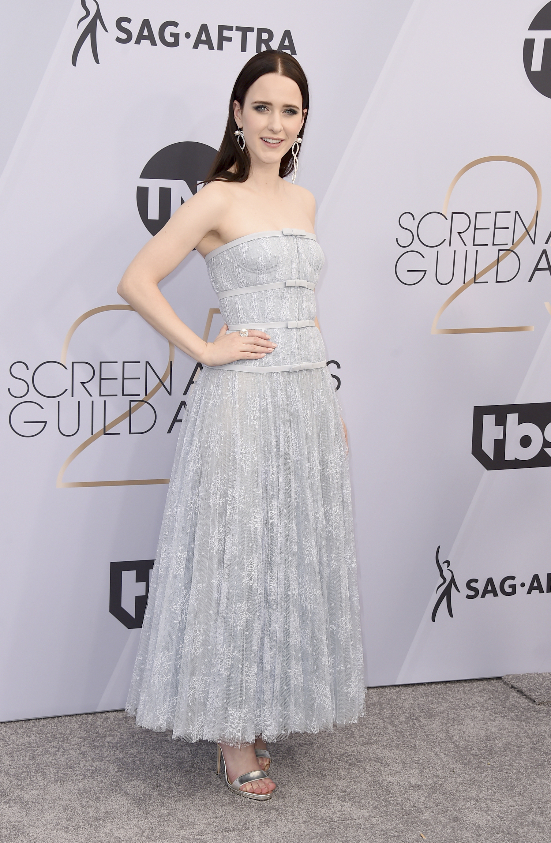<div class='meta'><div class='origin-logo' data-origin='AP'></div><span class='caption-text' data-credit='Jordan Strauss/Invision/AP'>Rachel Brosnahan arrives at the 25th annual Screen Actors Guild Awards at the Shrine Auditorium & Expo Hall on Sunday, Jan. 27, 2019, in Los Angeles.</span></div>