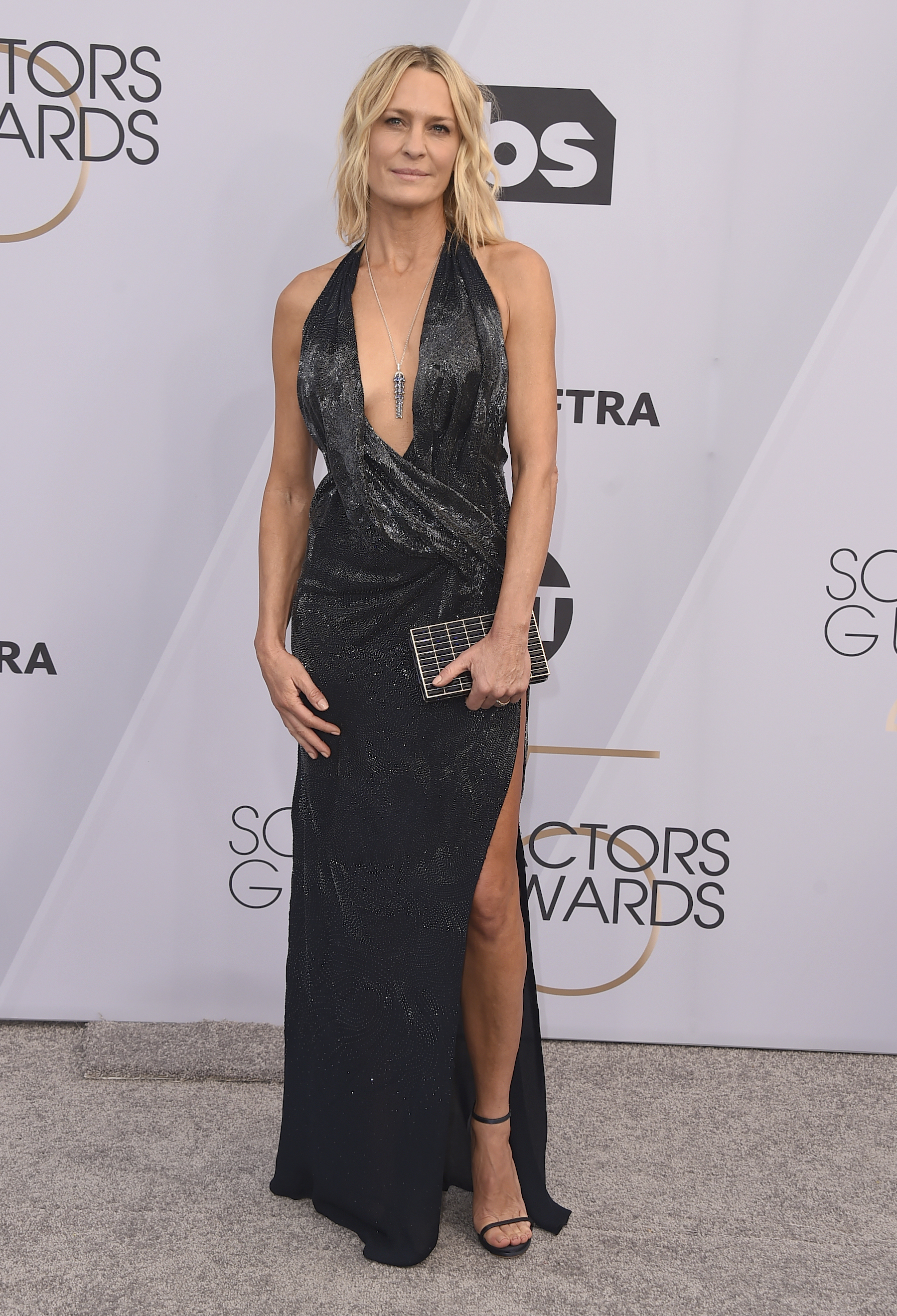 <div class='meta'><div class='origin-logo' data-origin='AP'></div><span class='caption-text' data-credit='Jordan Strauss/Invision/AP'>Robin Wright arrives at the 25th annual Screen Actors Guild Awards at the Shrine Auditorium & Expo Hall on Sunday, Jan. 27, 2019, in Los Angeles.</span></div>