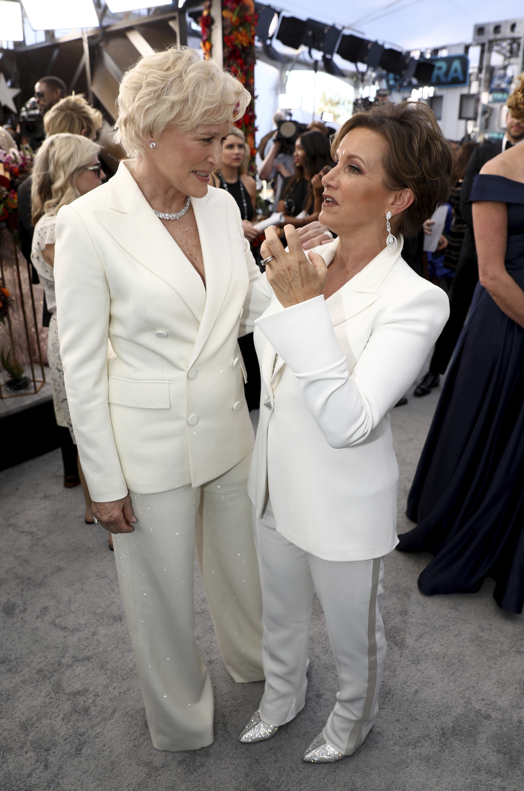 "<div class=""meta image-caption""><div class=""origin-logo origin-image ap""><span>AP</span></div><span class=""caption-text"">Glenn Close, left, and Gabrielle Carteris, executive vice president of SAG-AFTRA arrive at the 25th annual Screen Actors Guild Awards at the Shrine Auditorium & Expo Hall. (Matt Sayles/Invision/AP)</span></div>"
