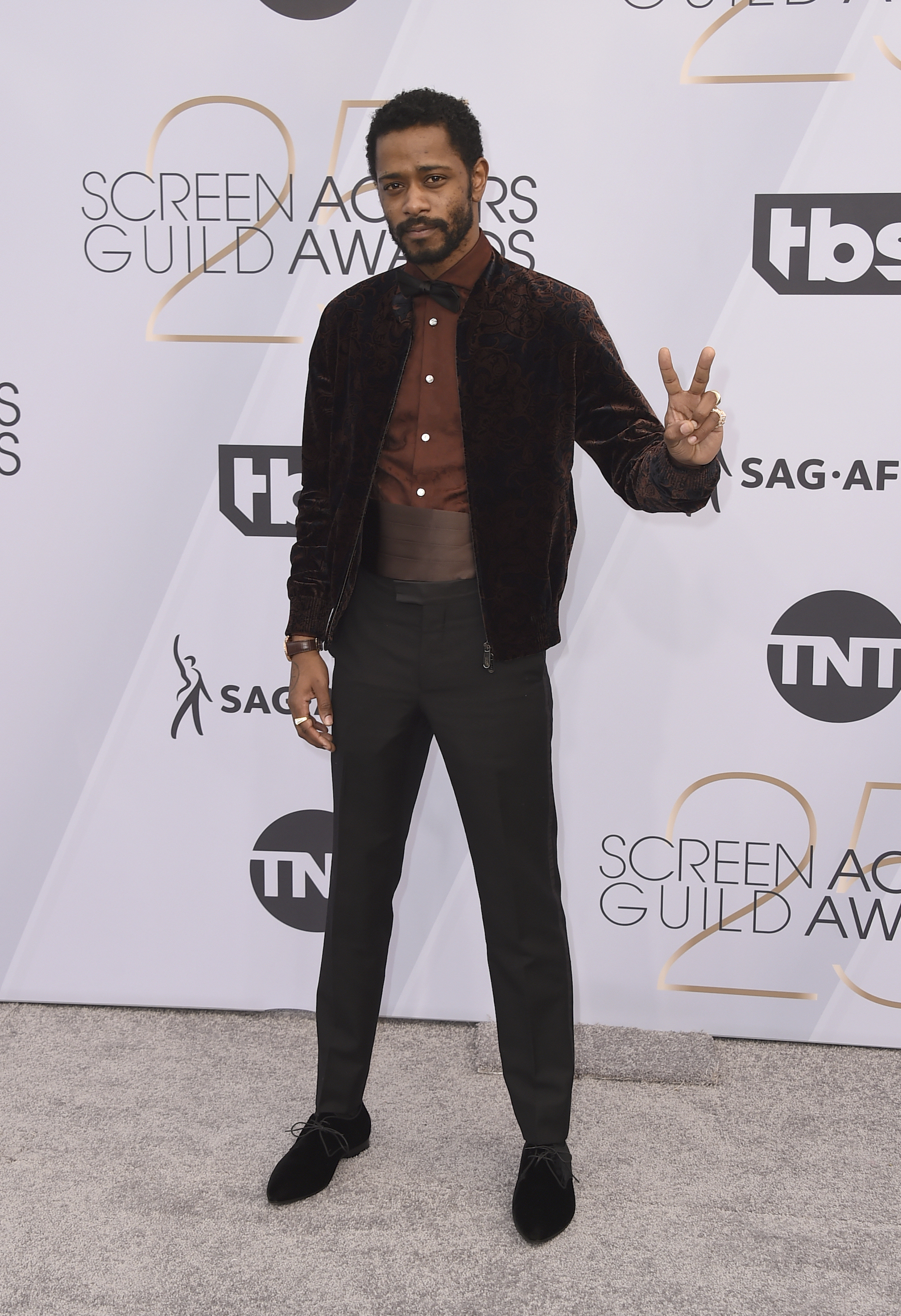 <div class='meta'><div class='origin-logo' data-origin='AP'></div><span class='caption-text' data-credit='Jordan Strauss/Invision/AP'>Lakeith Stanfield arrives at the 25th annual Screen Actors Guild Awards at the Shrine Auditorium & Expo Hall on Sunday, Jan. 27, 2019, in Los Angeles.</span></div>