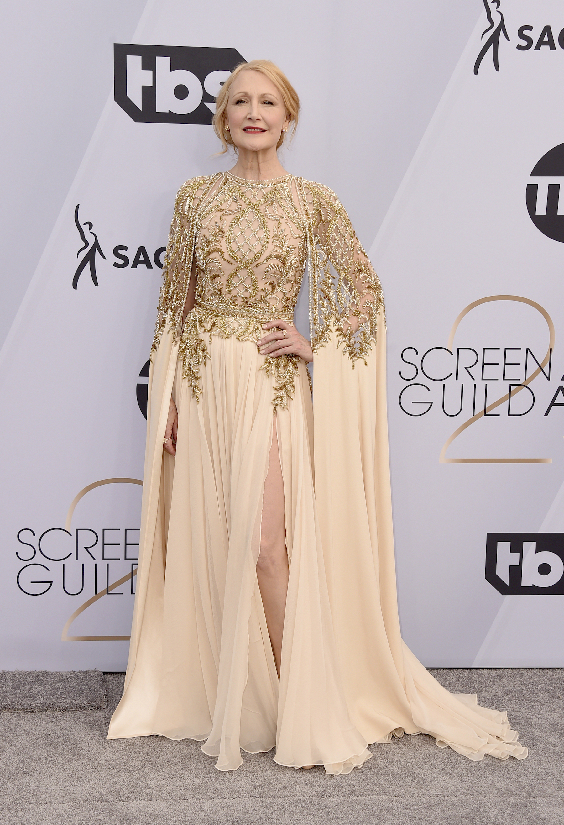 <div class='meta'><div class='origin-logo' data-origin='AP'></div><span class='caption-text' data-credit='Jordan Strauss/Invision/AP'>Patricia Clarkson arrives at the 25th annual Screen Actors Guild Awards at the Shrine Auditorium & Expo Hall on Sunday, Jan. 27, 2019, in Los Angeles.</span></div>