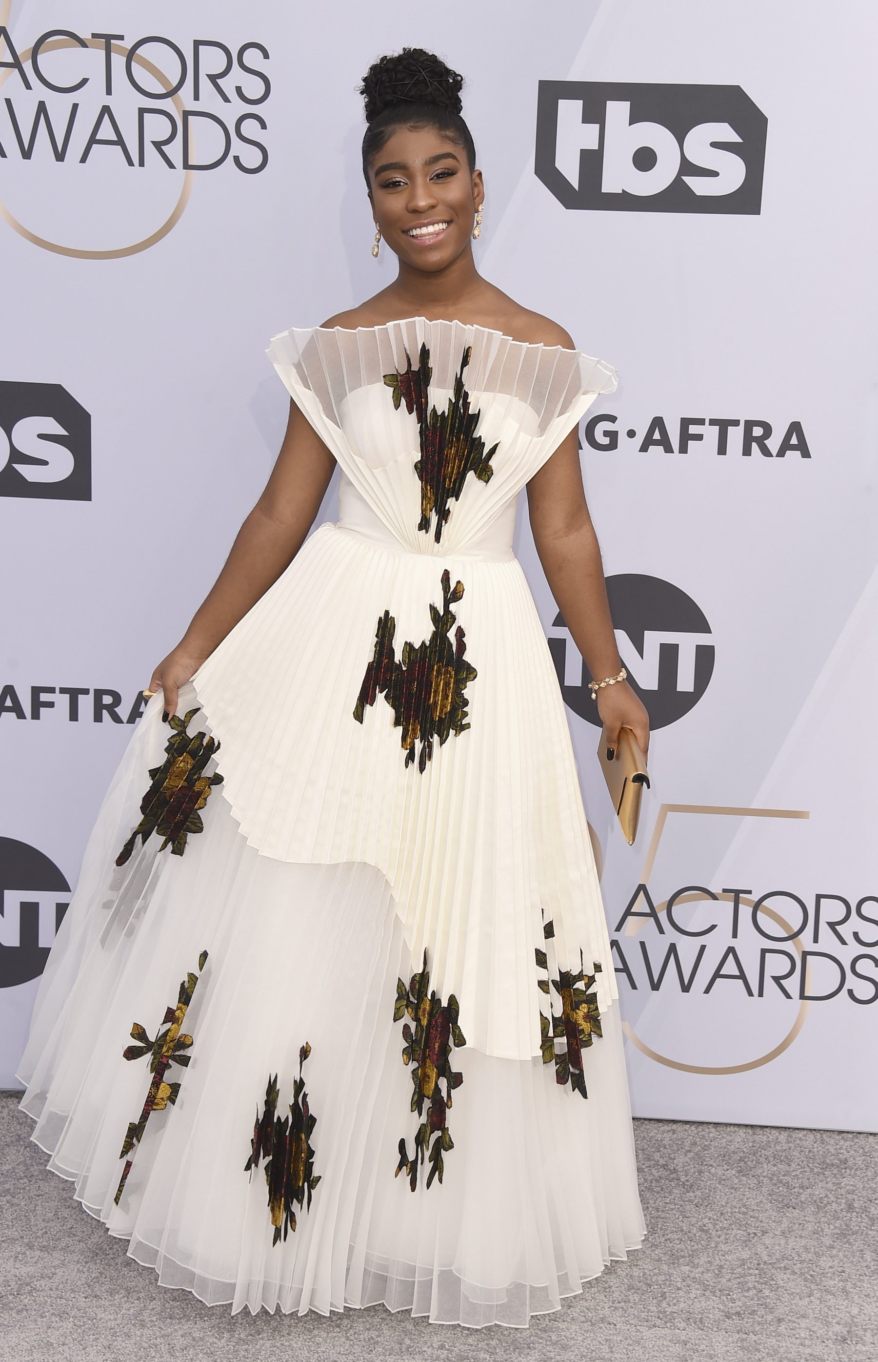 <div class='meta'><div class='origin-logo' data-origin='AP'></div><span class='caption-text' data-credit='Jordan Strauss/Invision/AP'>Lyric Ross arrives at the 25th annual Screen Actors Guild Awards at the Shrine Auditorium & Expo Hall on Sunday, Jan. 27, 2019, in Los Angeles.</span></div>