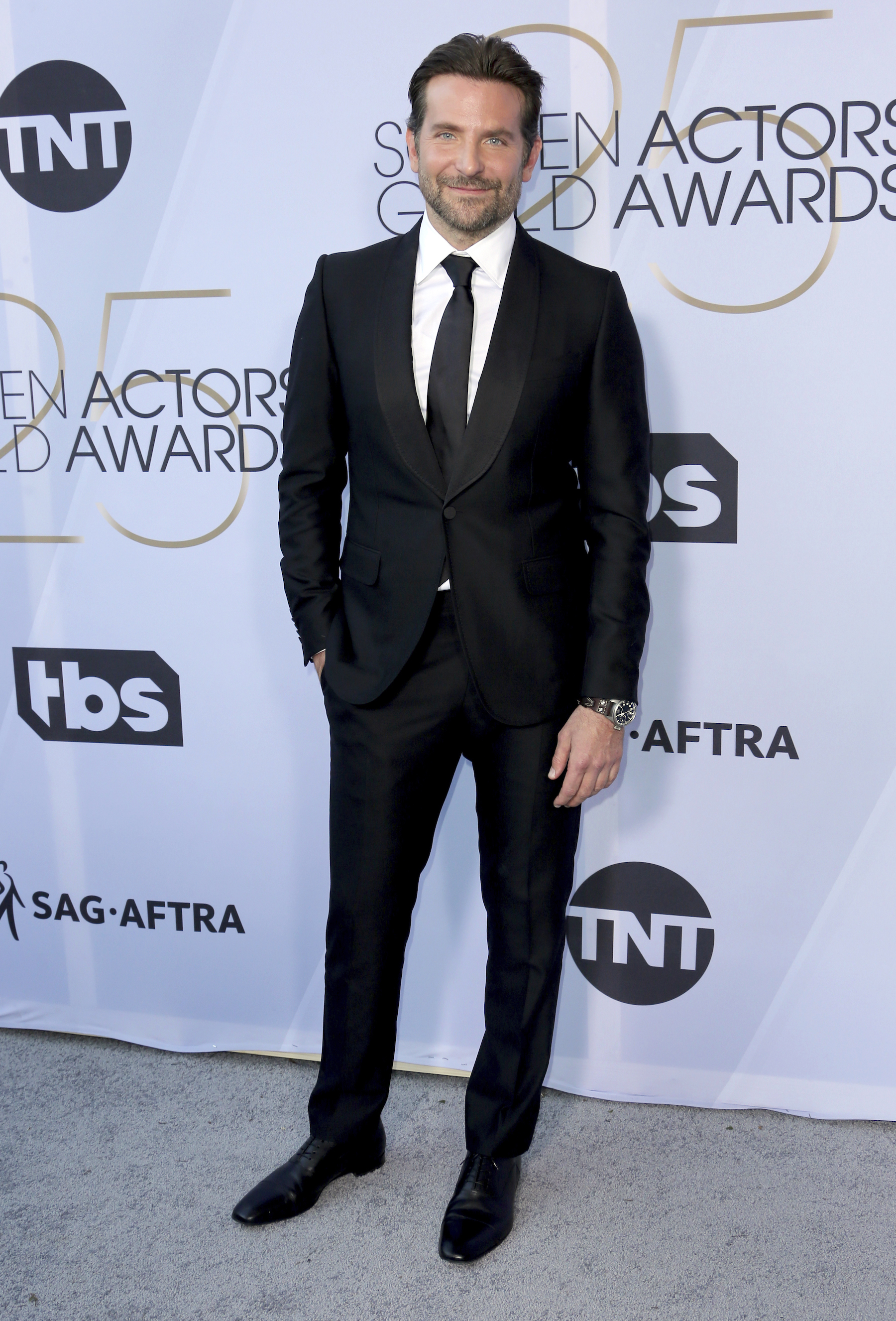 <div class='meta'><div class='origin-logo' data-origin='AP'></div><span class='caption-text' data-credit='Willy Sanjuan/Invision/AP'>Bradley Cooper arrives at the 25th annual Screen Actors Guild Awards at the Shrine Auditorium & Expo Hall on Sunday, Jan. 27, 2019, in Los Angeles.</span></div>