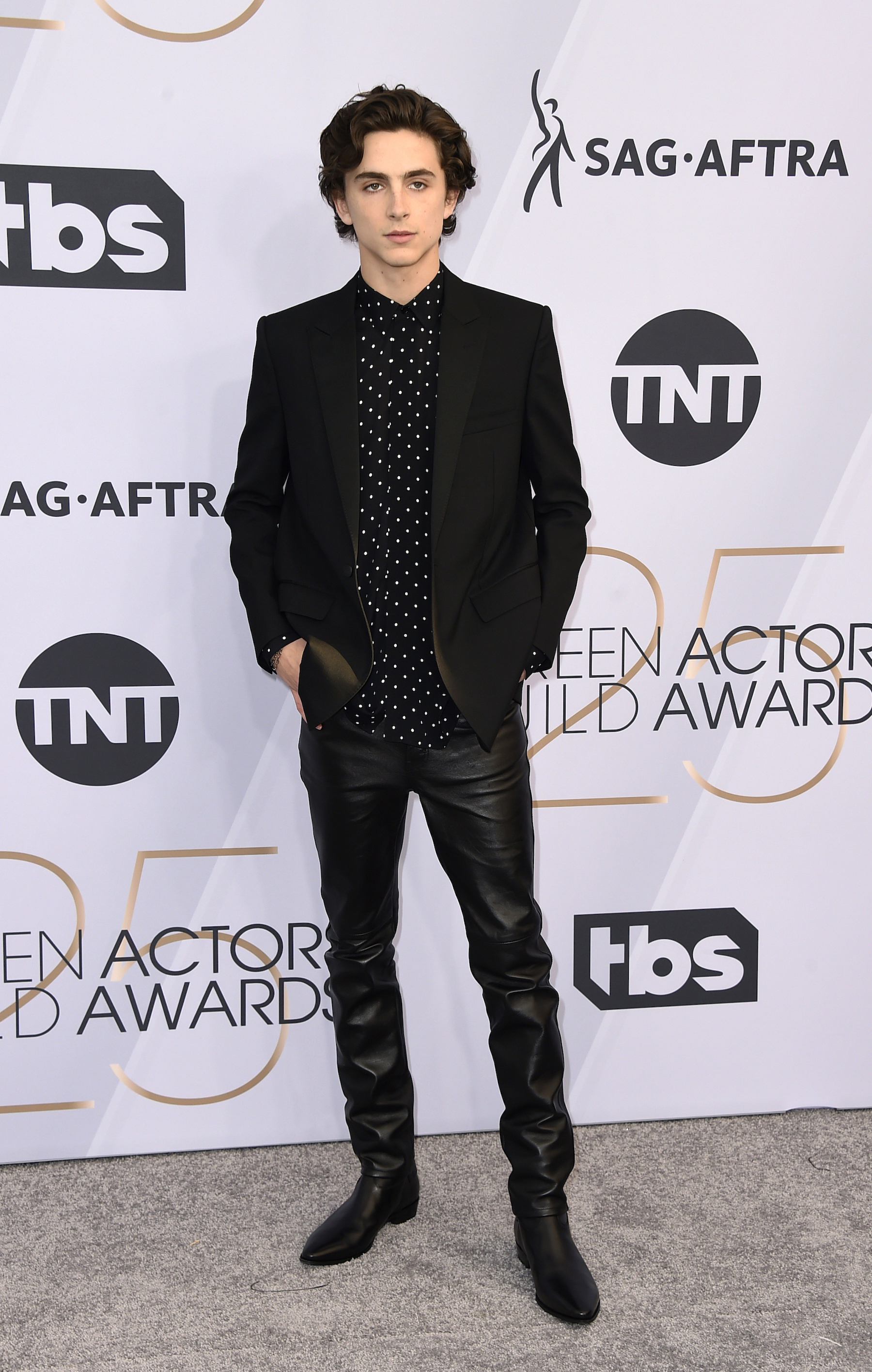 <div class='meta'><div class='origin-logo' data-origin='AP'></div><span class='caption-text' data-credit='Jordan Strauss/Invision/AP'>Timothee Chalamet arrives at the 25th annual Screen Actors Guild Awards at the Shrine Auditorium & Expo Hall on Sunday, Jan. 27, 2019, in Los Angeles.</span></div>
