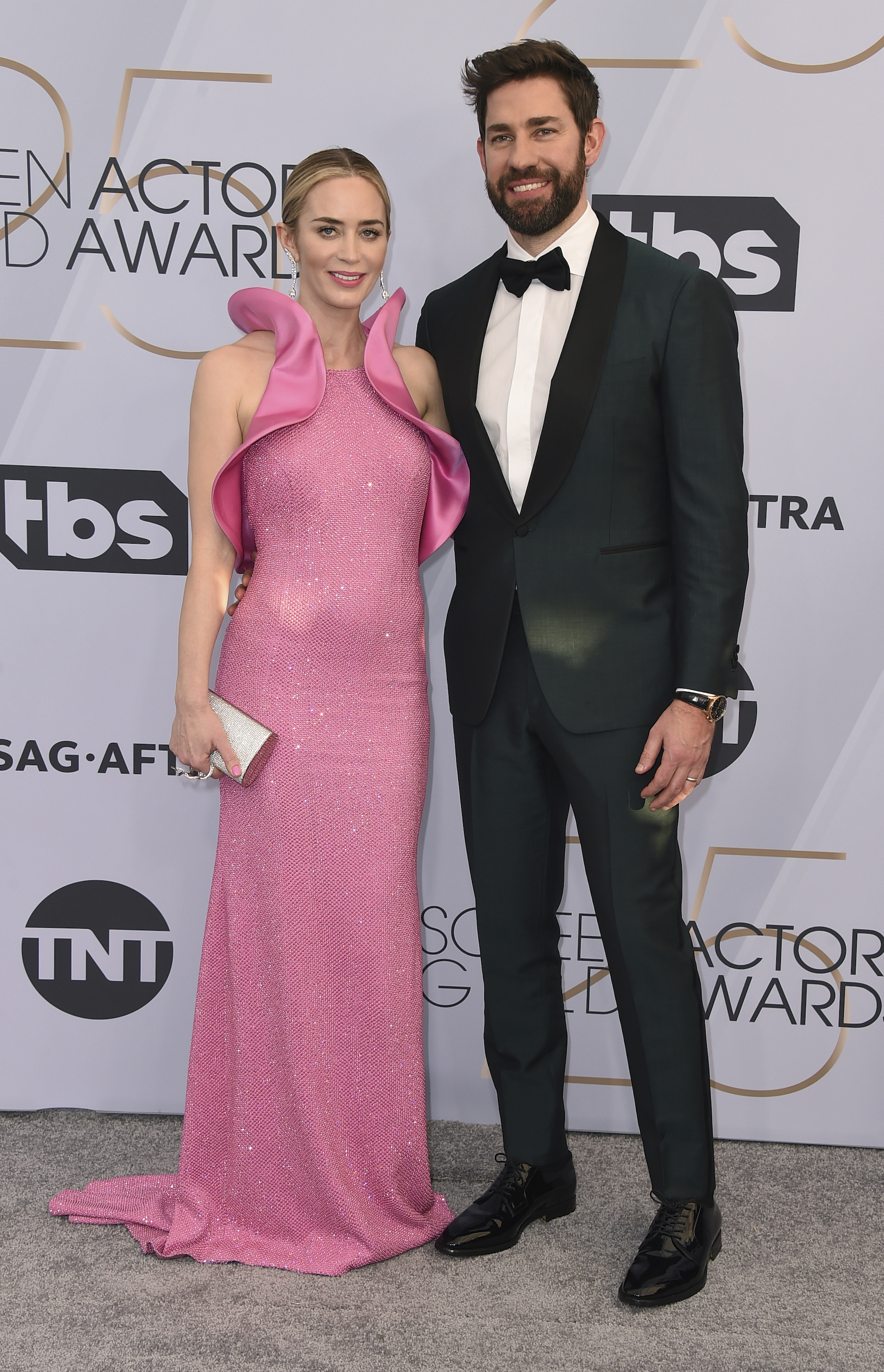 <div class='meta'><div class='origin-logo' data-origin='AP'></div><span class='caption-text' data-credit='Jordan Strauss/Invision/AP'>Emily Blunt, left, and John Krasinski arrive at the 25th annual Screen Actors Guild Awards at the Shrine Auditorium & Expo Hall on Sunday, Jan. 27, 2019, in Los Angeles.</span></div>