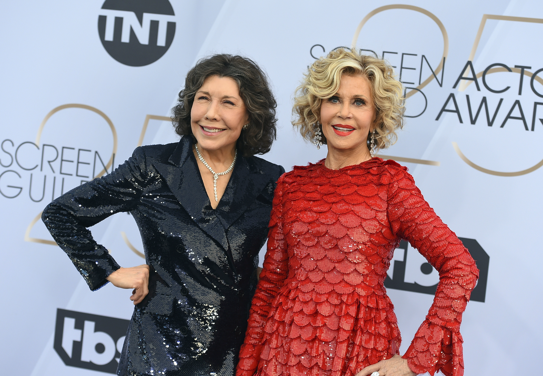 <div class='meta'><div class='origin-logo' data-origin='AP'></div><span class='caption-text' data-credit='Jordan Strauss/Invision/AP'>Lily Tomlin, left, and Jane Fonda arrive at the 25th annual Screen Actors Guild Awards at the Shrine Auditorium & Expo Hall on Sunday, Jan. 27, 2019, in Los Angeles.</span></div>