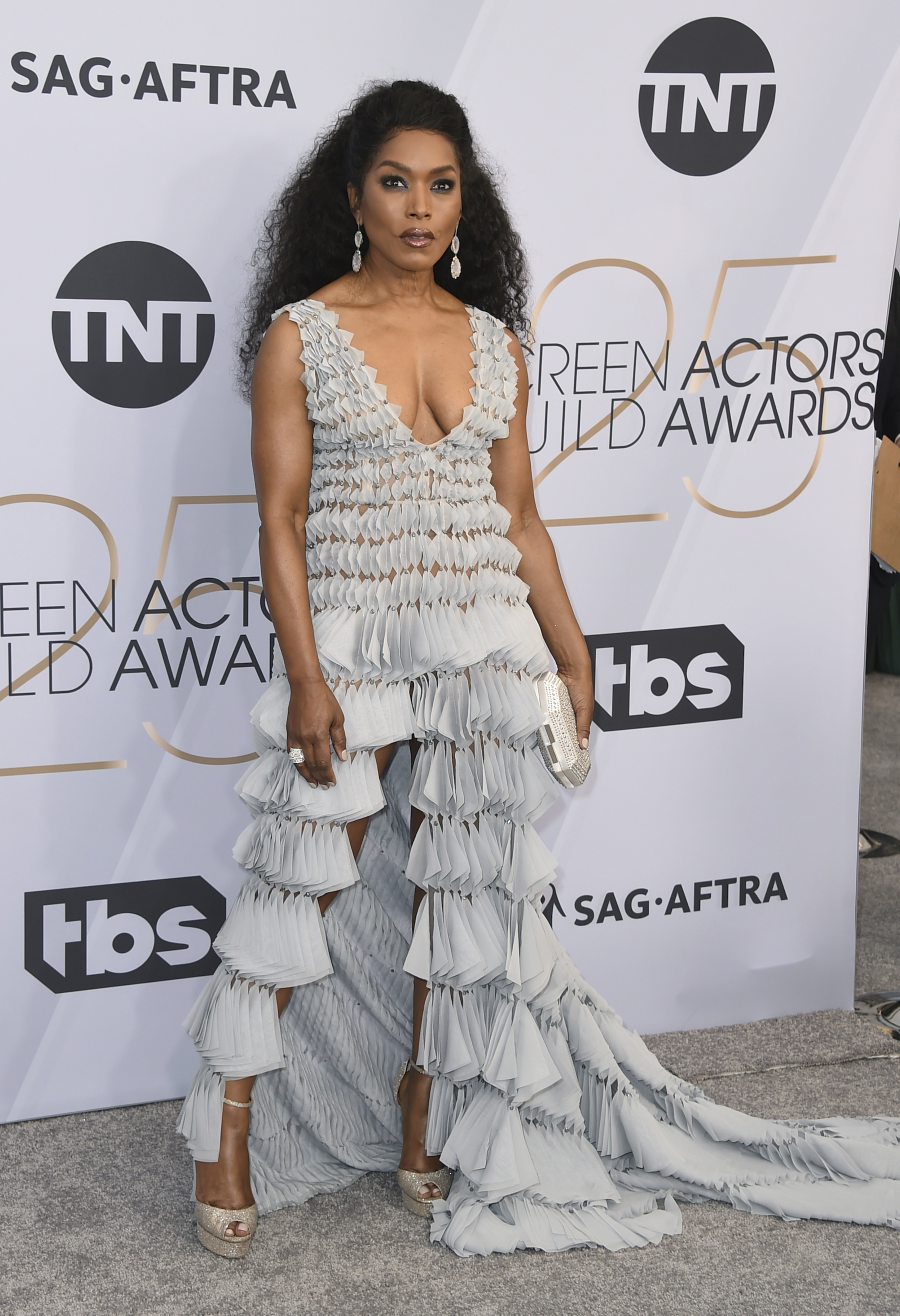 <div class='meta'><div class='origin-logo' data-origin='AP'></div><span class='caption-text' data-credit='Jordan Strauss/Invision/AP'>Angela Bassett arrives at the 25th annual Screen Actors Guild Awards at the Shrine Auditorium & Expo Hall on Sunday, Jan. 27, 2019, in Los Angeles.</span></div>