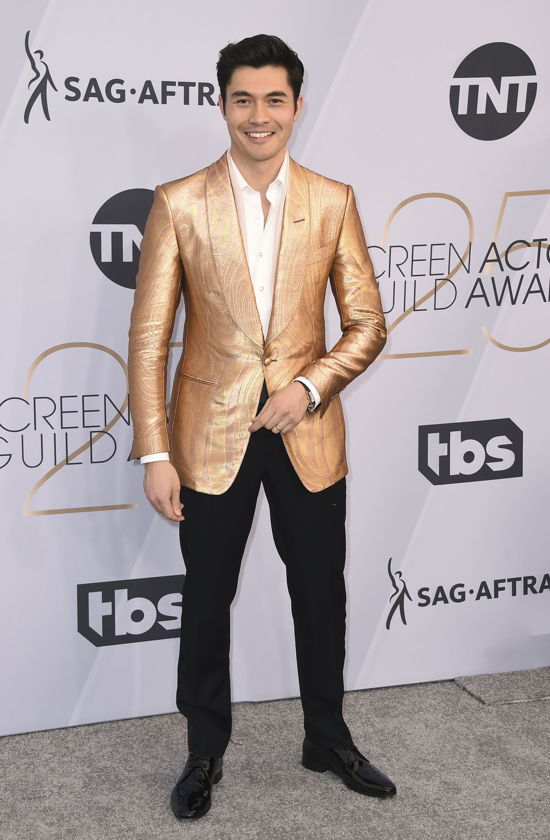 <div class='meta'><div class='origin-logo' data-origin='AP'></div><span class='caption-text' data-credit='Jordan Strauss/Invision/AP'>Henry Golding arrives at the 25th annual Screen Actors Guild Awards at the Shrine Auditorium & Expo Hall on Sunday, Jan. 27, 2019, in Los Angeles.</span></div>