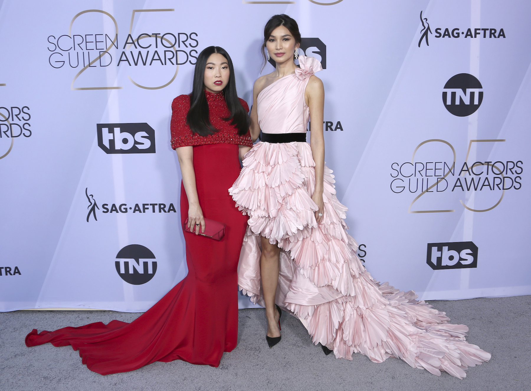 <div class='meta'><div class='origin-logo' data-origin='AP'></div><span class='caption-text' data-credit='Willy Sanjuan/Invision/AP'>Awkwafina, left, and Gemma Chan arrive at the 25th annual Screen Actors Guild Awards at the Shrine Auditorium & Expo Hall on Sunday, Jan. 27, 2019, in Los Angeles.</span></div>