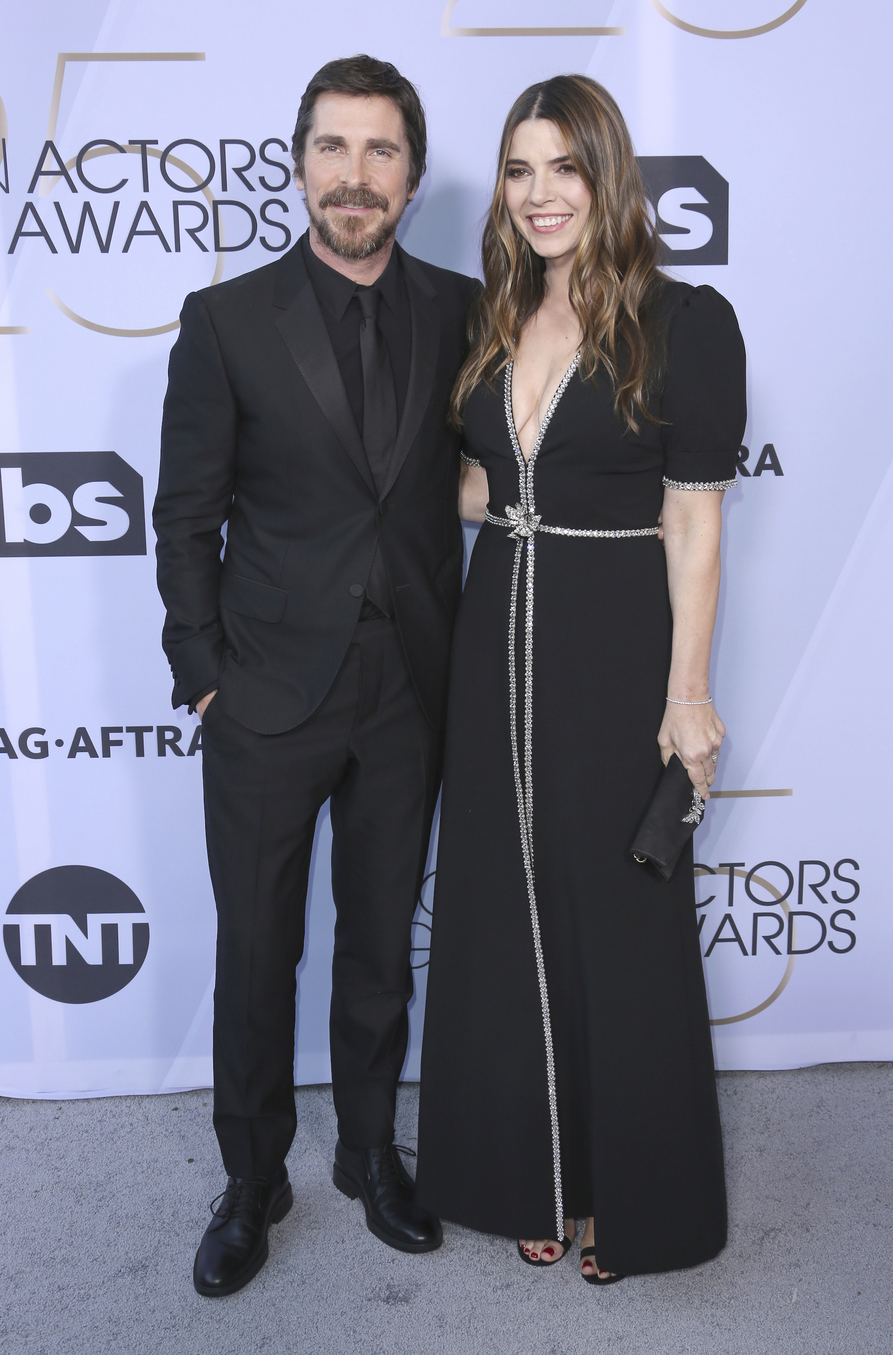 <div class='meta'><div class='origin-logo' data-origin='AP'></div><span class='caption-text' data-credit='Willy Sanjuan/Invision/AP'>Christian Bale, left, and Sibi Blazic arrive at the 25th annual Screen Actors Guild Awards at the Shrine Auditorium & Expo Hall on Sunday, Jan. 27, 2019, in Los Angeles.</span></div>