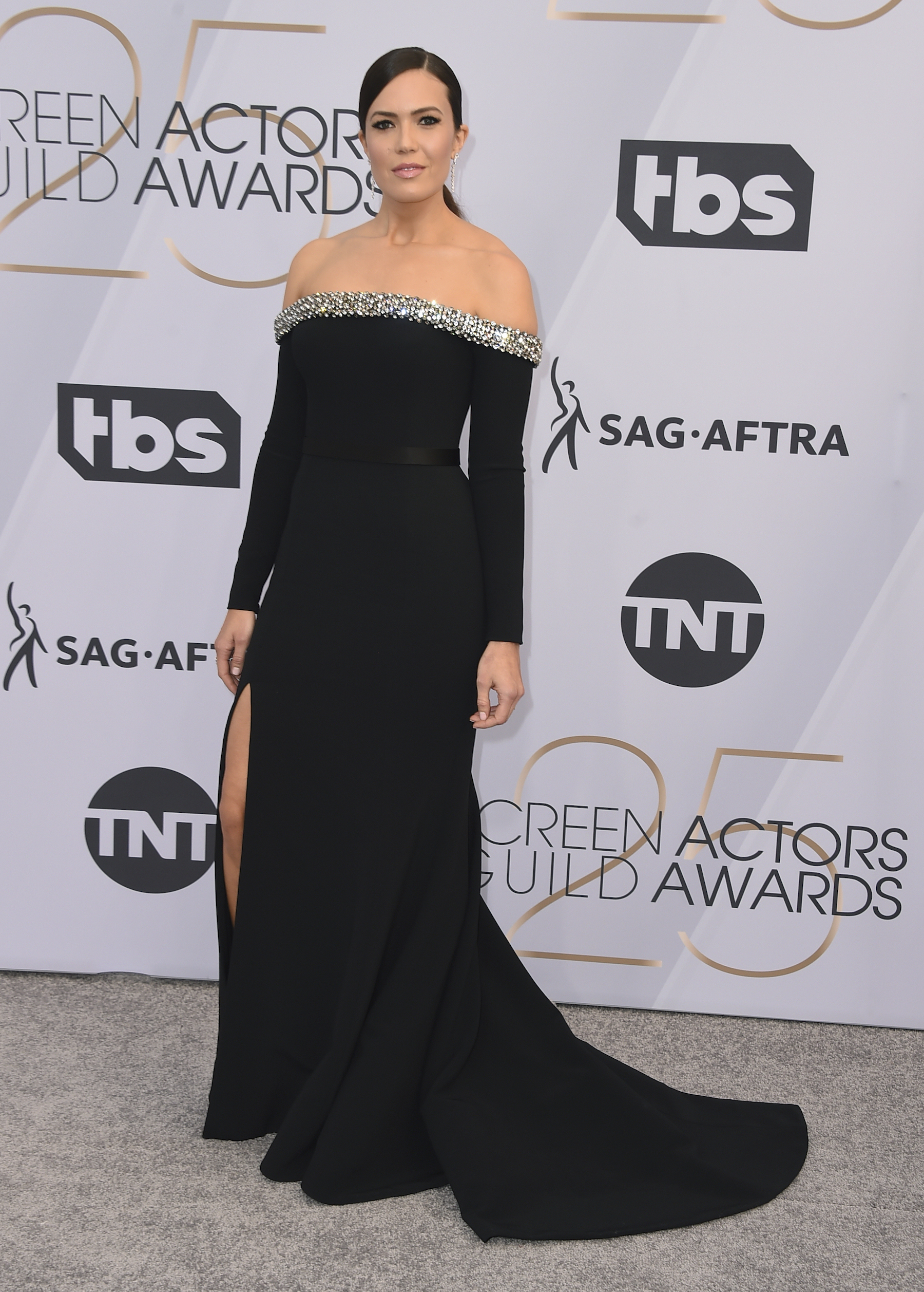 <div class='meta'><div class='origin-logo' data-origin='AP'></div><span class='caption-text' data-credit='Jordan Strauss/Invision/AP'>Mandy Moore arrives at the 25th annual Screen Actors Guild Awards at the Shrine Auditorium & Expo Hall on Sunday, Jan. 27, 2019, in Los Angeles.</span></div>