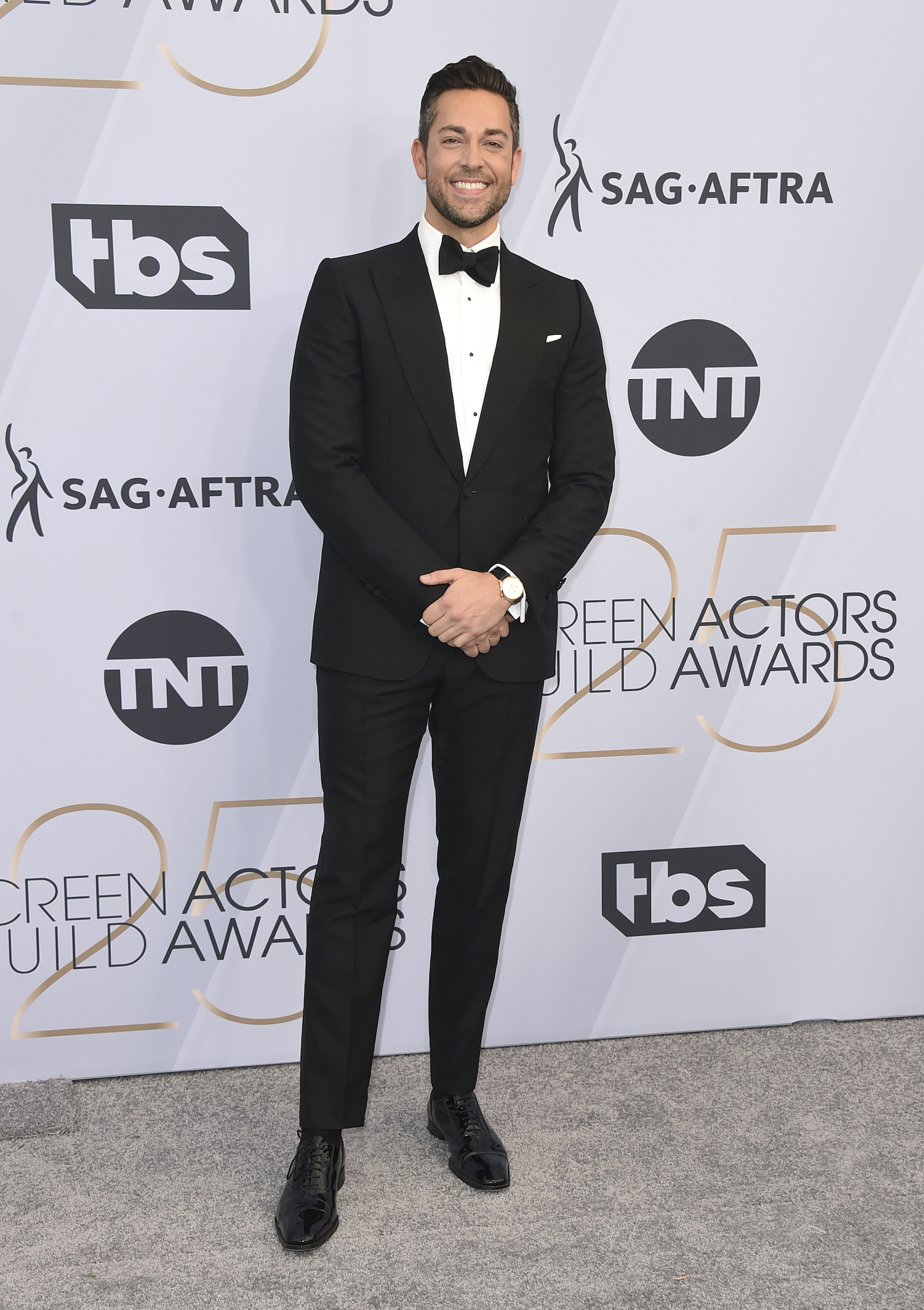 <div class='meta'><div class='origin-logo' data-origin='AP'></div><span class='caption-text' data-credit='Jordan Strauss/Invision/AP'>Zachary Levi arrives at the 25th annual Screen Actors Guild Awards at the Shrine Auditorium & Expo Hall on Sunday, Jan. 27, 2019, in Los Angeles.</span></div>