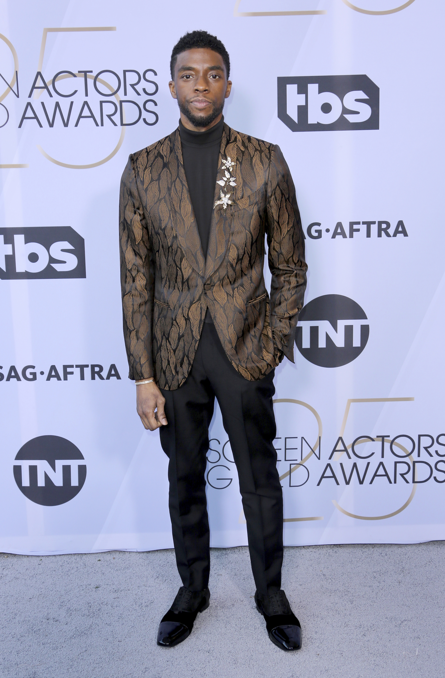 <div class='meta'><div class='origin-logo' data-origin='AP'></div><span class='caption-text' data-credit='Willy Sanjuan/Invision/AP'>Chadwick Boseman arrives at the 25th annual Screen Actors Guild Awards at the Shrine Auditorium & Expo Hall on Sunday, Jan. 27, 2019, in Los Angeles.</span></div>