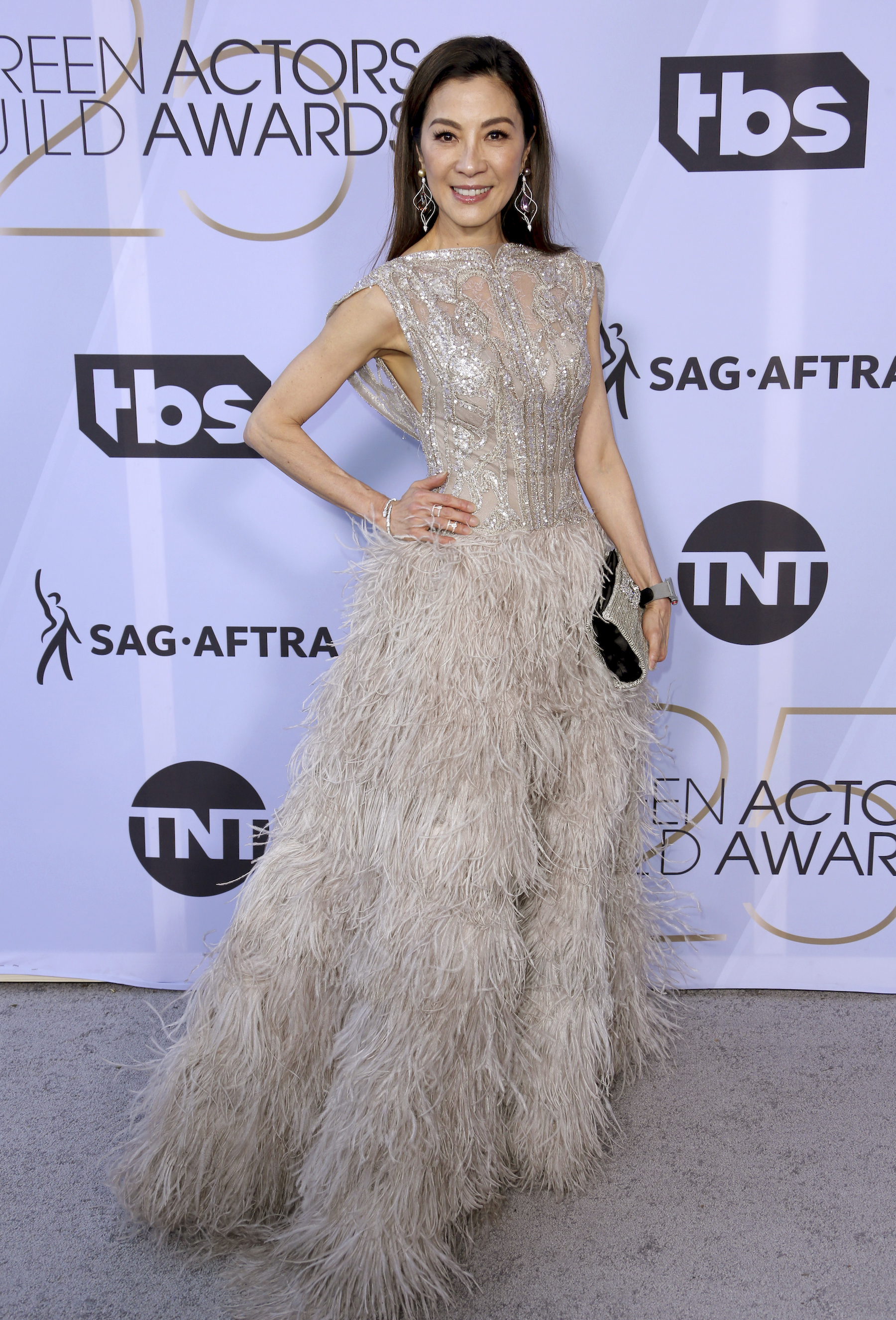 <div class='meta'><div class='origin-logo' data-origin='AP'></div><span class='caption-text' data-credit='Willy Sanjuan/Invision/AP'>Michelle Yeoh arrives at the 25th annual Screen Actors Guild Awards at the Shrine Auditorium & Expo Hall on Sunday, Jan. 27, 2019, in Los Angeles.</span></div>