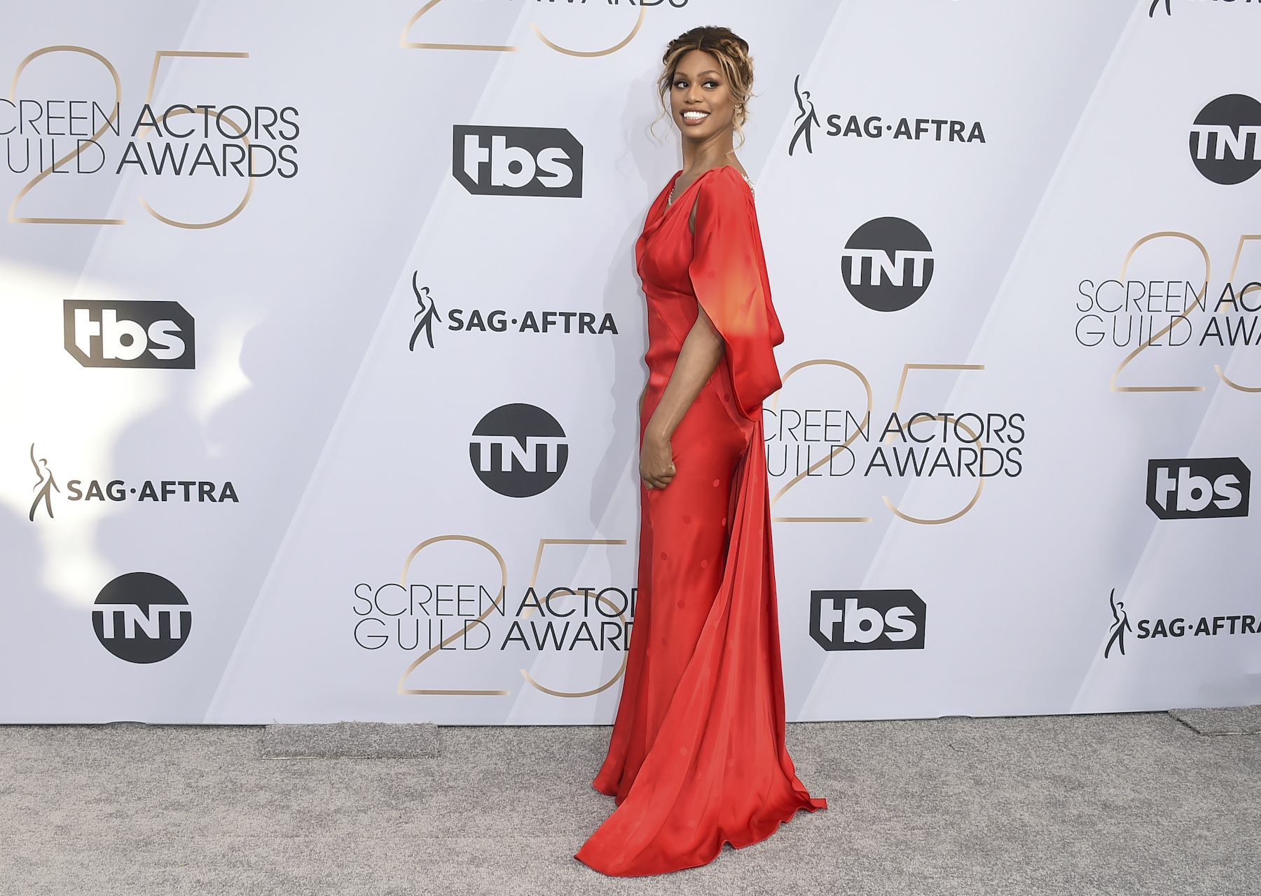 <div class='meta'><div class='origin-logo' data-origin='AP'></div><span class='caption-text' data-credit='Jordan Strauss/Invision/AP'>Laverne Cox arrives at the 25th annual Screen Actors Guild Awards at the Shrine Auditorium & Expo Hall on Sunday, Jan. 27, 2019, in Los Angeles.</span></div>