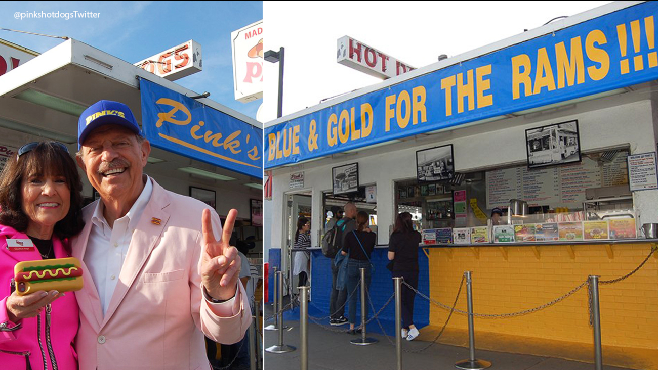 Ana Lago Hot pink's hot dogs turns blue and gold in support of la rams