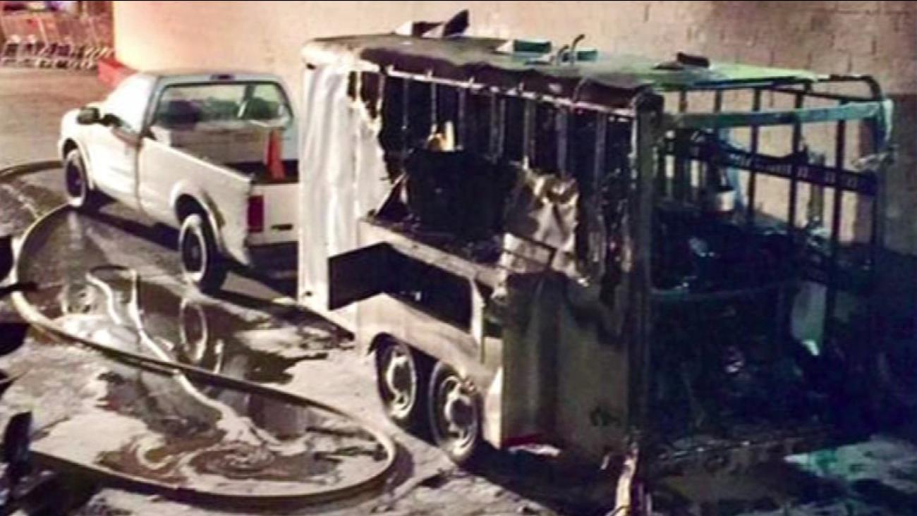 Delivery truck fire at Safeway in San Rafael. (San Rafael Fire via Twitter)