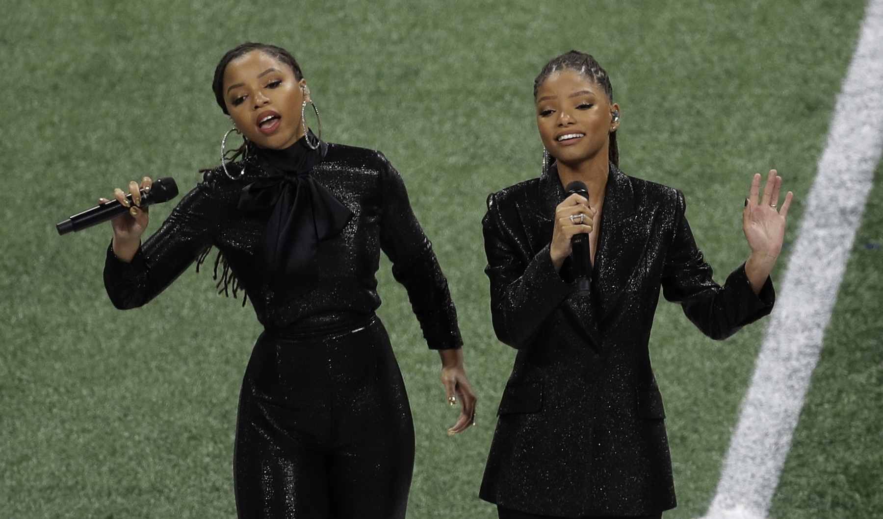 """<div class=""""meta image-caption""""><div class=""""origin-logo origin-image ap""""><span>AP</span></div><span class=""""caption-text"""">Chloe x Halle perform before the NFL Super Bowl 53 football game between the Los Angeles Rams and the New England Patriots Sunday, Feb. 3, 2019, in Atlanta. (AP Photo/Charlie Riedel)</span></div>"""