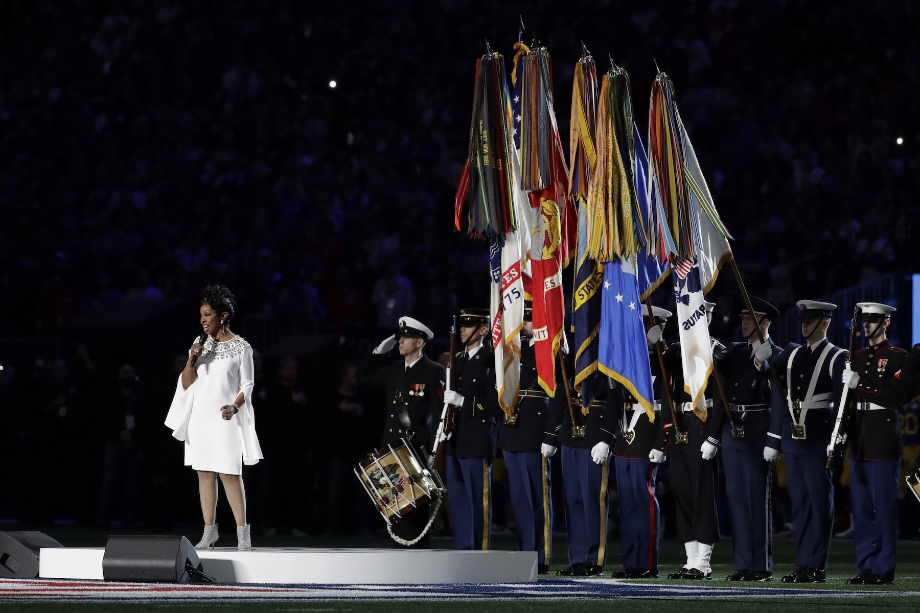 """<div class=""""meta image-caption""""><div class=""""origin-logo origin-image ap""""><span>AP</span></div><span class=""""caption-text"""">Gladys Knight sings the national anthem, before the NFL Super Bowl 53 football game between the Los Angeles Rams and the New England Patriots Sunday, Feb. 3, 2019, in Atlanta. (AP Photo/Jeff Roberson)</span></div>"""