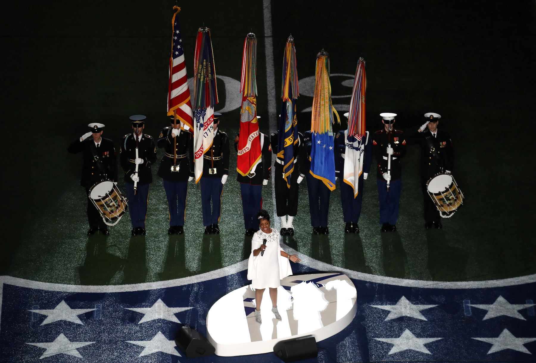 """<div class=""""meta image-caption""""><div class=""""origin-logo origin-image wpvi""""><span>wpvi</span></div><span class=""""caption-text"""">Gladys Knight performs the National Anthem prior to Super Bowl LIII between the New England Patriots and the Los Angeles Rams at Mercedes-Benz Stadium on February 03, 2019. (Rob Carr/Getty Images)</span></div>"""