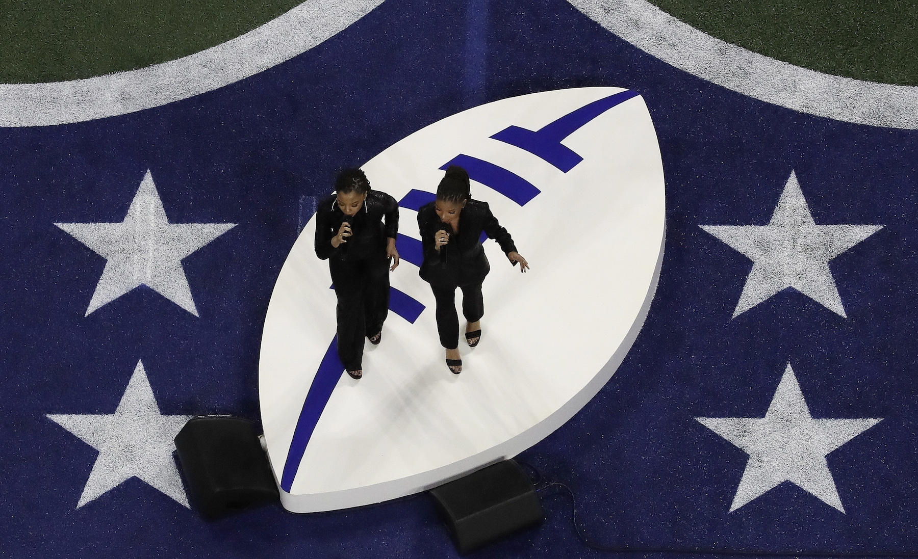 """<div class=""""meta image-caption""""><div class=""""origin-logo origin-image ap""""><span>AP</span></div><span class=""""caption-text"""">Chloe x Halle performs before the NFL Super Bowl 53 football game between the Los Angeles Rams and the New England Patriots Sunday, Feb. 3, 2019, in Atlanta. (AP Photo/Morry Gash)</span></div>"""