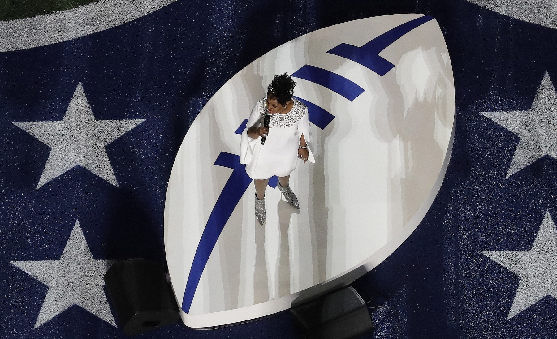 """<div class=""""meta image-caption""""><div class=""""origin-logo origin-image ap""""><span>AP</span></div><span class=""""caption-text"""">Gladys Knight sings the national anthem before the NFL Super Bowl 53 football game between the Los Angeles Rams and the New England Patriots Sunday, Feb. 3, 2019, in Atlanta. (AP Photo/Morry Gash)</span></div>"""