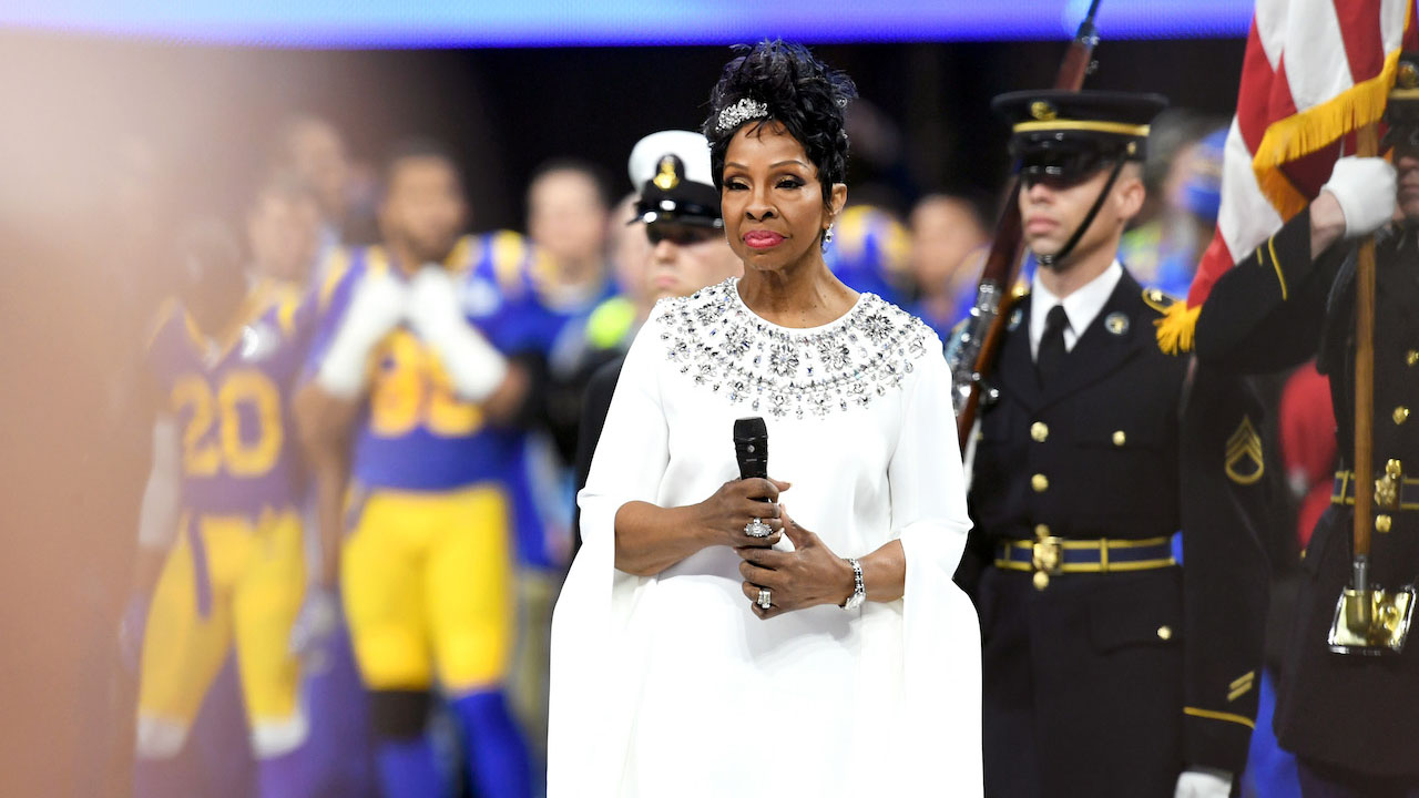 """<div class=""""meta image-caption""""><div class=""""origin-logo origin-image wabc""""><span>wabc</span></div><span class=""""caption-text"""">Gladys Knight performs during the Super Bowl LIII pregame show at Mercedes-Benz Stadium on February 3, 2019, in Atlanta, Georgia. (Getty Images)</span></div>"""