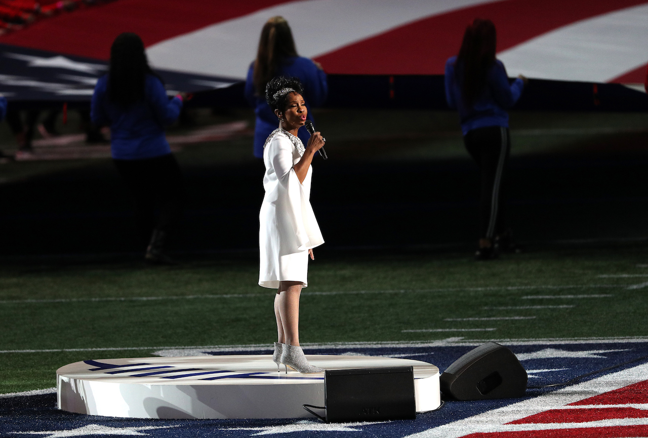 """<div class=""""meta image-caption""""><div class=""""origin-logo origin-image wpvi""""><span>wpvi</span></div><span class=""""caption-text"""">Gladys Knight performs the National Anthem prior to Super Bowl LIII between the New England Patriots and the Los Angeles Rams at Mercedes-Benz Stadium on February 03, 2019. (Patrick Smith/Getty Images)</span></div>"""