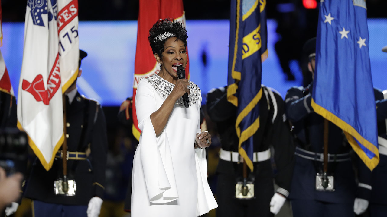 """<div class=""""meta image-caption""""><div class=""""origin-logo origin-image ap""""><span>AP</span></div><span class=""""caption-text"""">Gladys Knight sings the national anthem before the NFL Super Bowl 53 football game between the Los Angeles Rams and the New England Patriots Sunday, Feb. 3, 2019, in Atlanta. (AP Photo/David J. Phillip)</span></div>"""