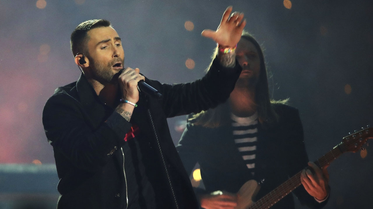 "<div class=""meta image-caption""><div class=""origin-logo origin-image ap""><span>AP</span></div><span class=""caption-text"">Adam Levine of Maroon 5 performs during halftime of the NFL Super Bowl 53 football game between the Los Angeles Rams and the New England Patriots Sunday, Feb. 3, 2019, in Atlanta. (AP Photo/Matt Rourke)</span></div>"