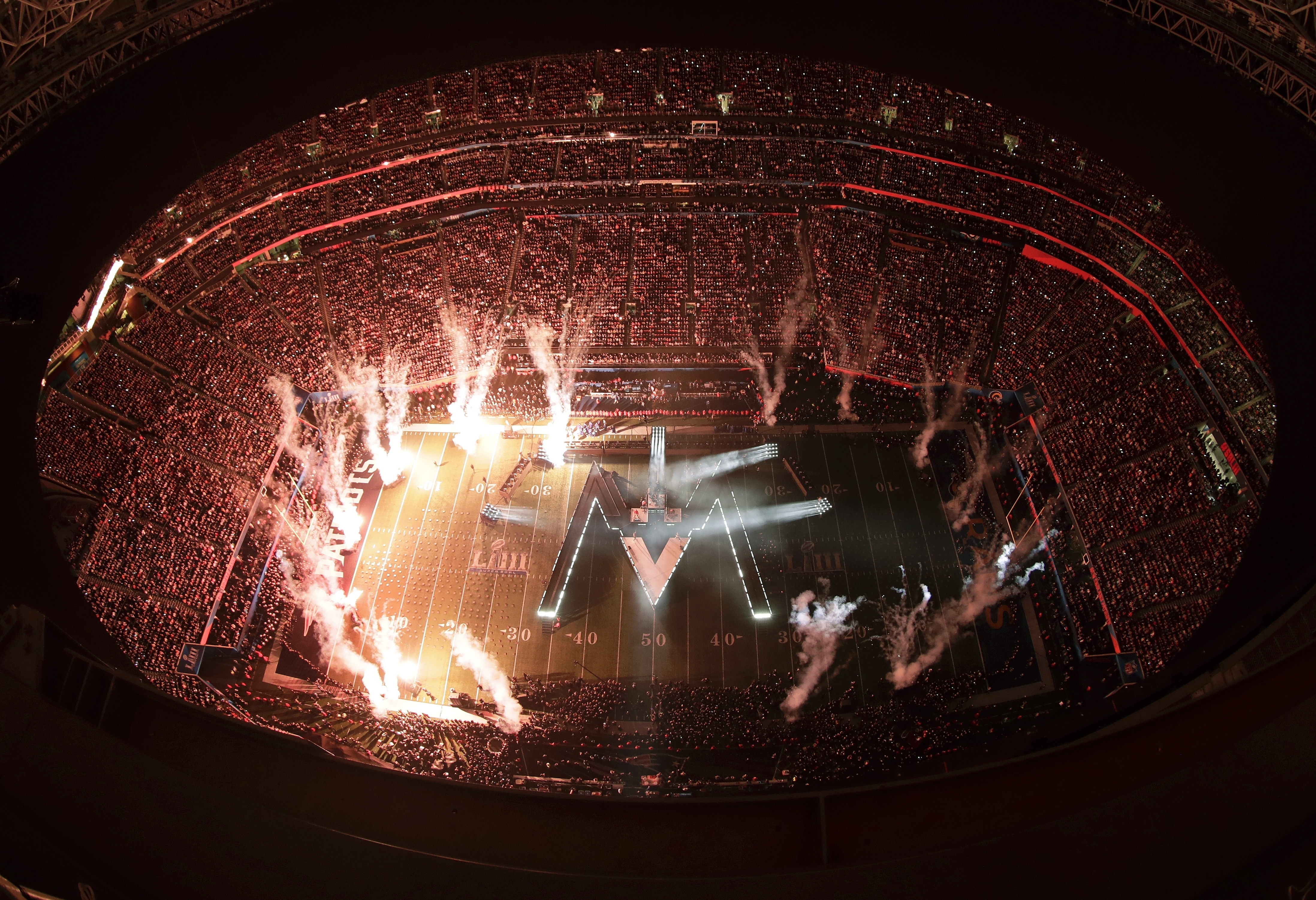 "<div class=""meta image-caption""><div class=""origin-logo origin-image ap""><span>AP</span></div><span class=""caption-text"">Fireworks illuminate the stage during halftime of the NFL Super Bowl 53 football game between the Los Angeles Rams and the New England Patriots Sunday, Feb. 3, 2019, in Atlanta. (AP Photo/Morry Gash)</span></div>"